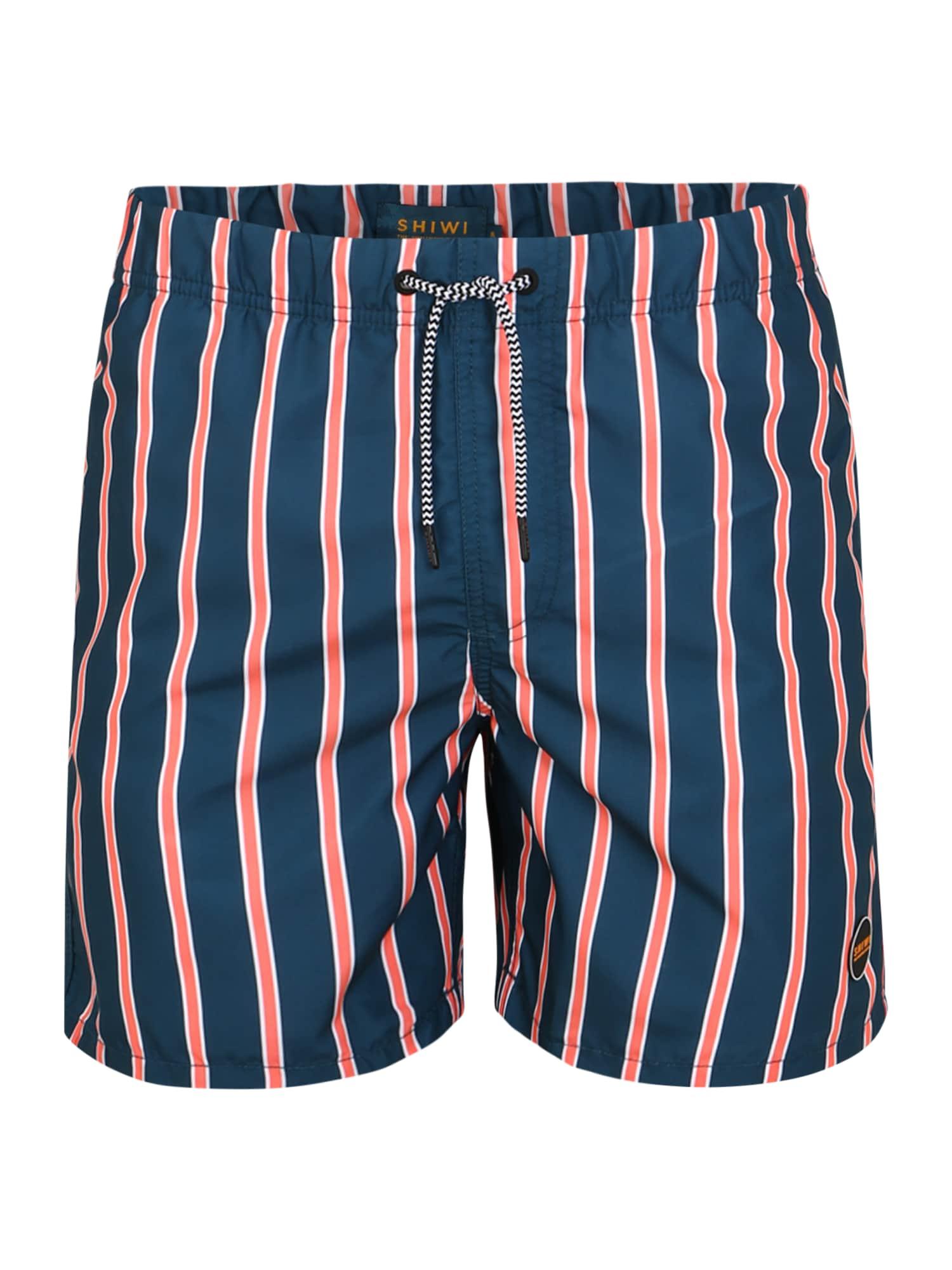 Shiwi Plavecké šortky 'urban stripe'  oranžovo červená / modré
