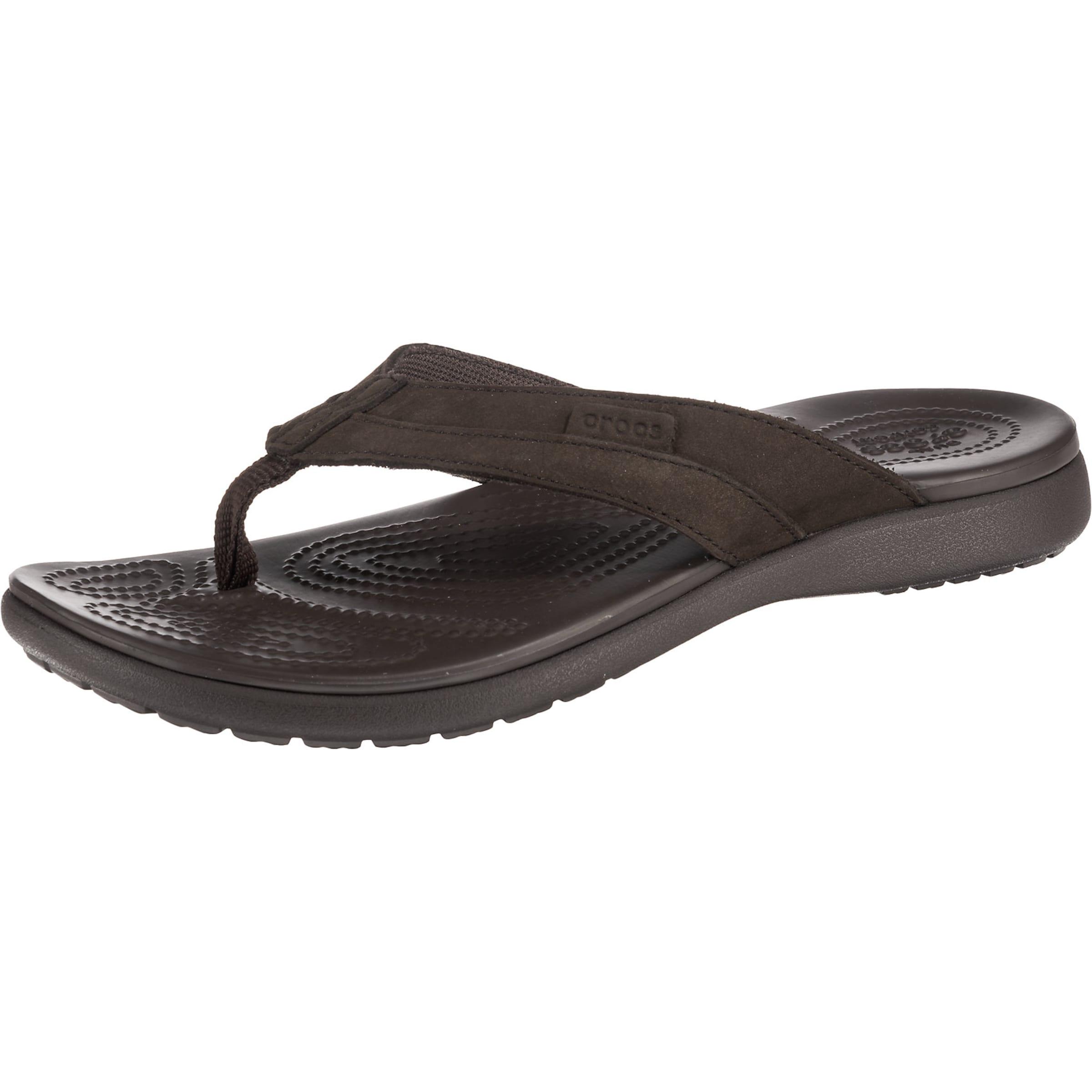 Herren Crocs Santa Cruz Leather Flip M Esp/Esp Zehentrenner braun | 00191448313859
