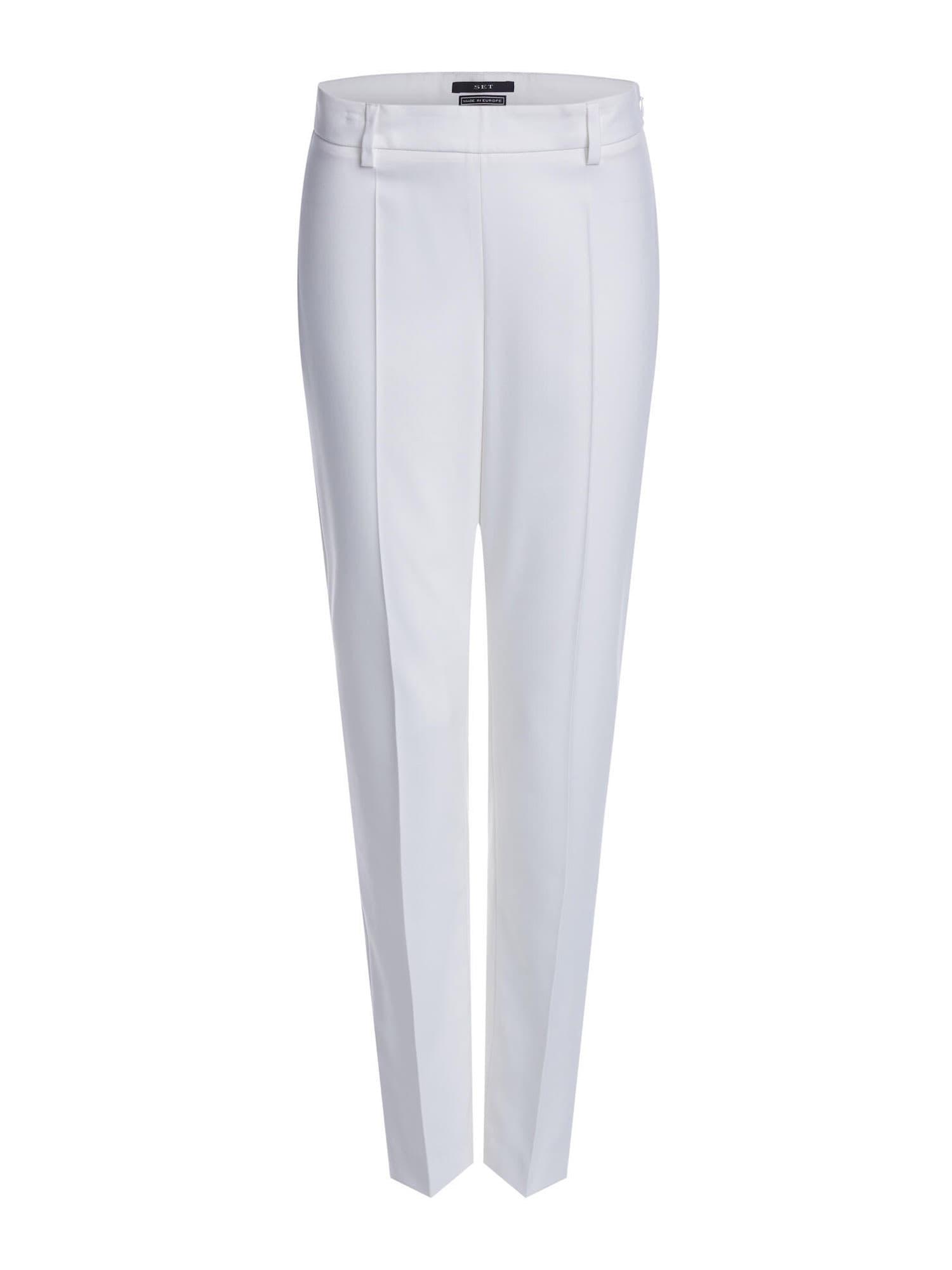 SET Kelnės su kantu balta
