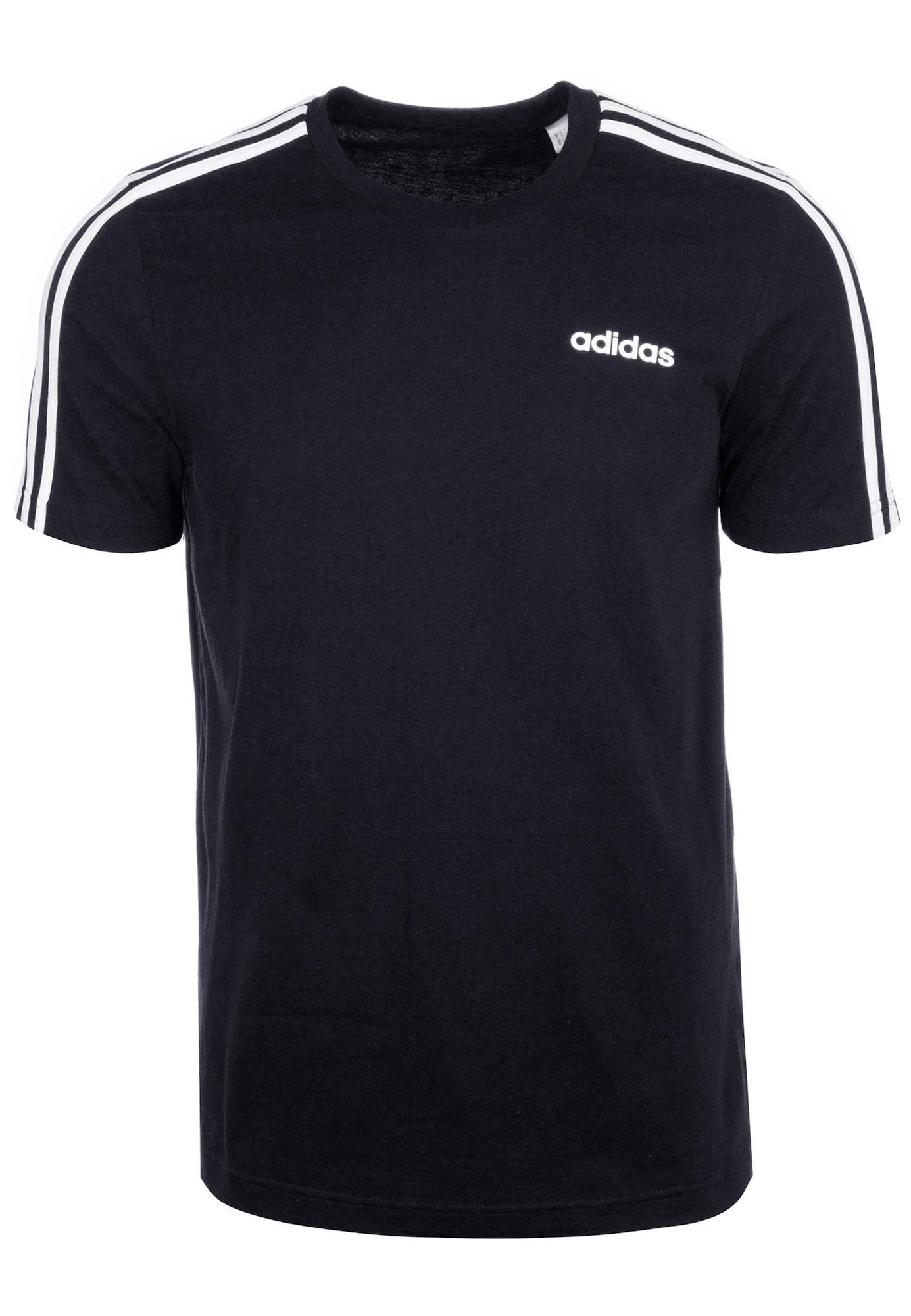 ADIDAS PERFORMANCE Sportiniai marškinėliai 'Essentials 3 Stripes' balta / juoda