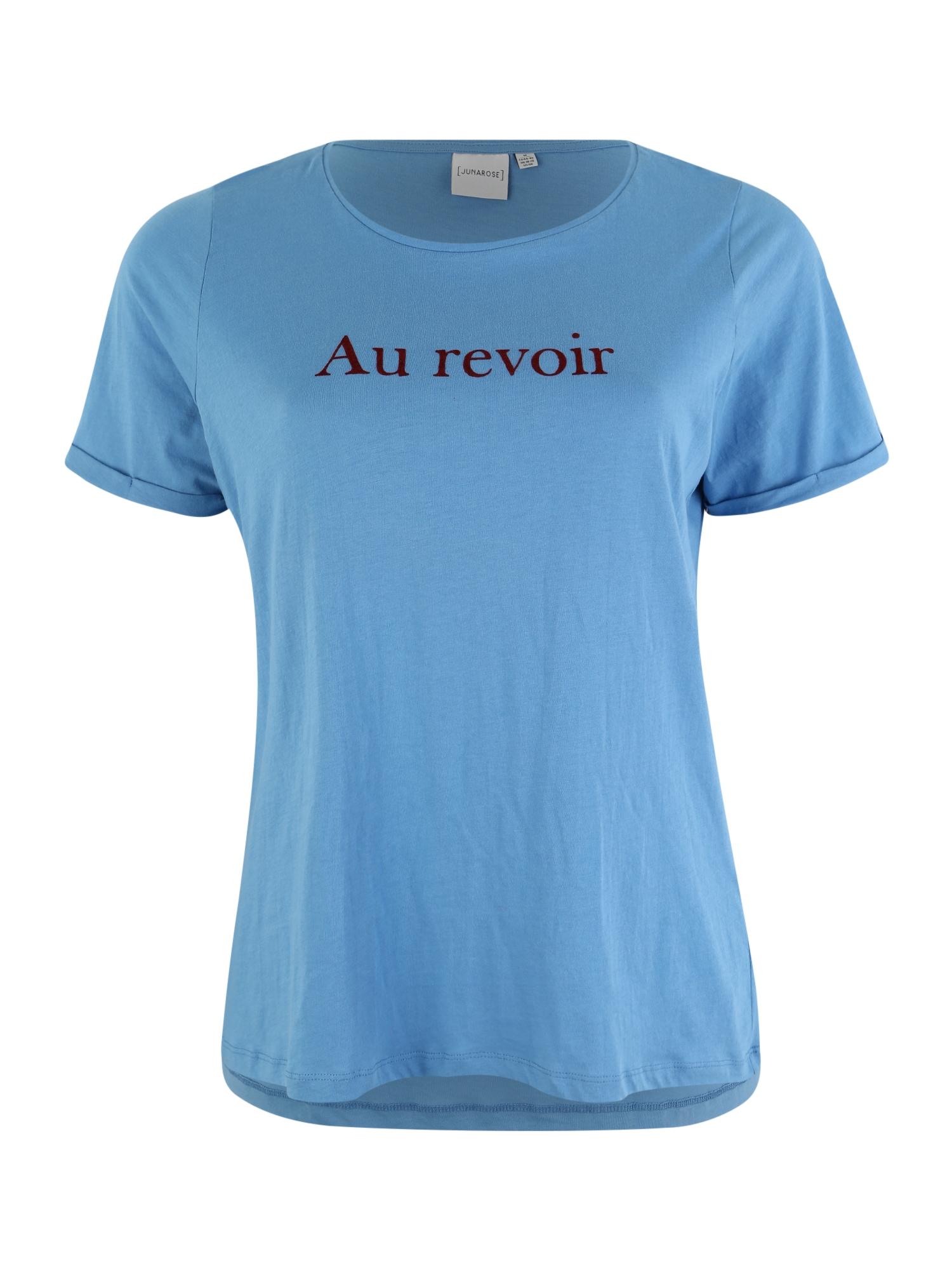 Junarose Marškinėliai 'REVOIR' šviesiai mėlyna / juoda