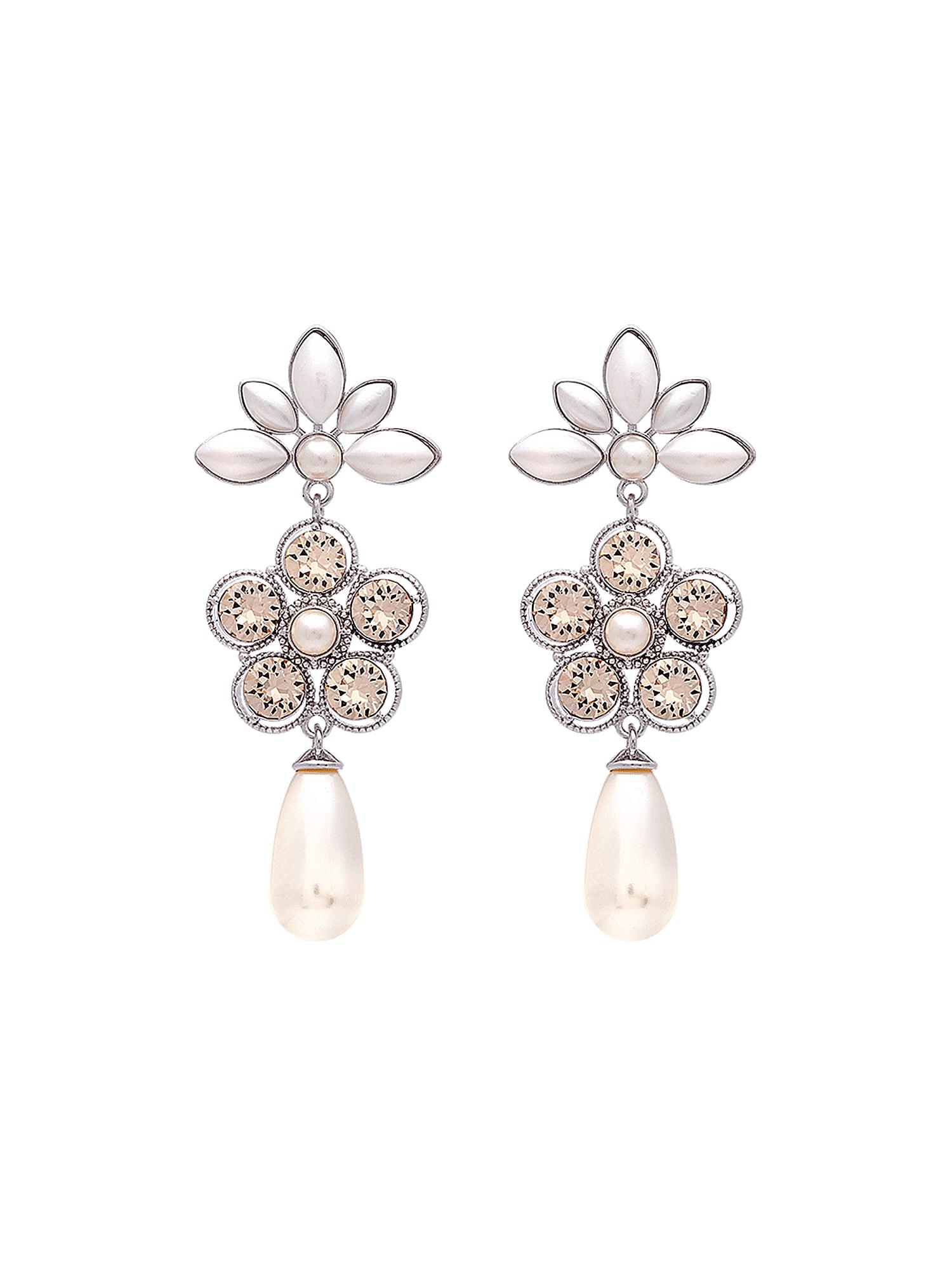 Náušnice Aurora růžová stříbrná perlově bílá LILY AND ROSE