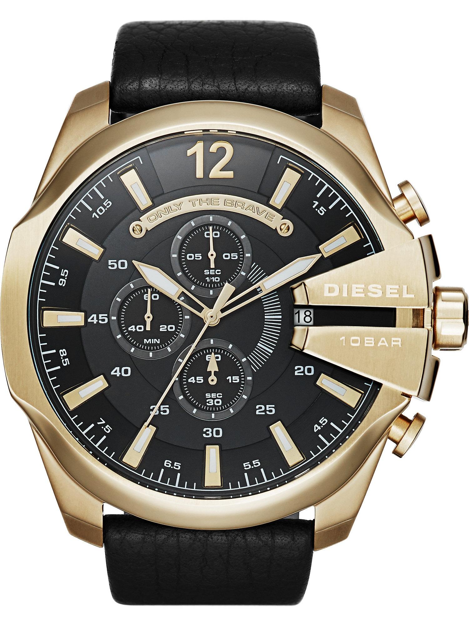 DIESEL Analoginis (įprasto dizaino) laikrodis 'MEGA CHIEF' auksas / juoda