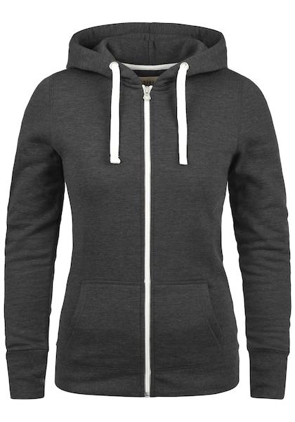 Jacken für Frauen - Desires Kapuzensweatjacke 'Derby Zip' grau weiß  - Onlineshop ABOUT YOU