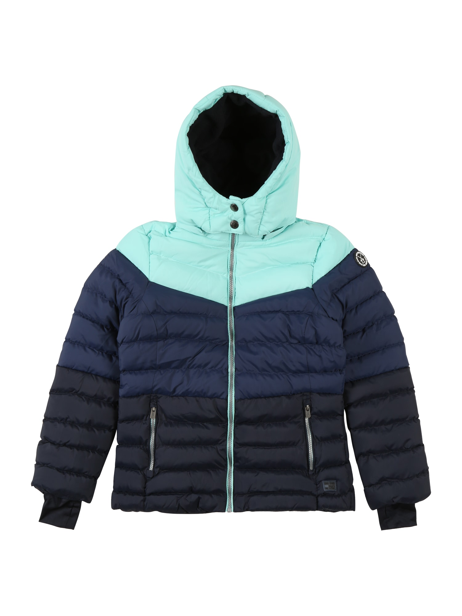 Cars Jeans Žieminė striukė 'MALOU' tamsiai mėlyna / turkio spalva