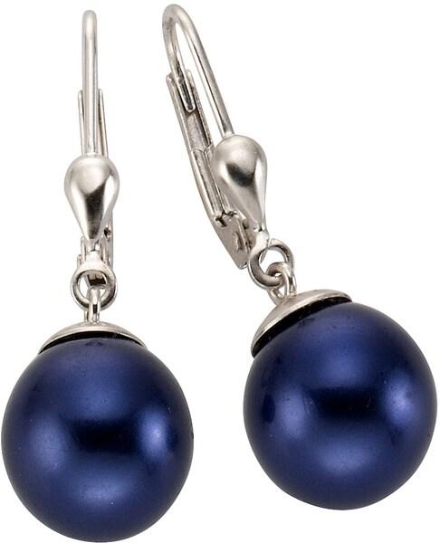 Ohrringe für Frauen - FIRETTI Paar Ohrhänger mit Muschelkernperlen blau silber  - Onlineshop ABOUT YOU
