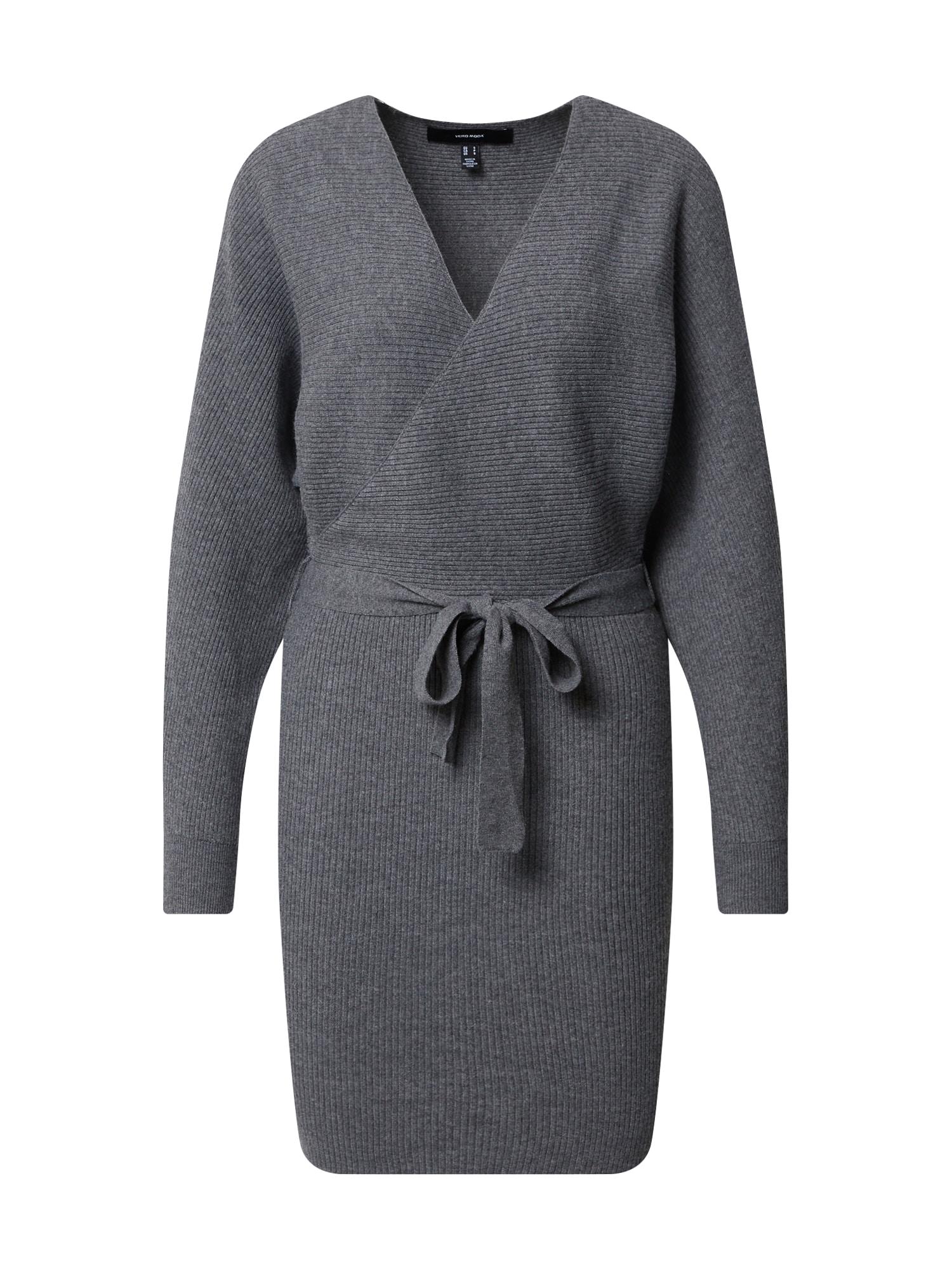 VERO MODA Úpletové šaty 'Rem'  šedá