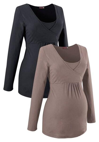Schwangerschaftsmode für Frauen - Stillshirt (Packung, 2 Stück) › neun monate › dunkelbeige schwarz  - Onlineshop ABOUT YOU