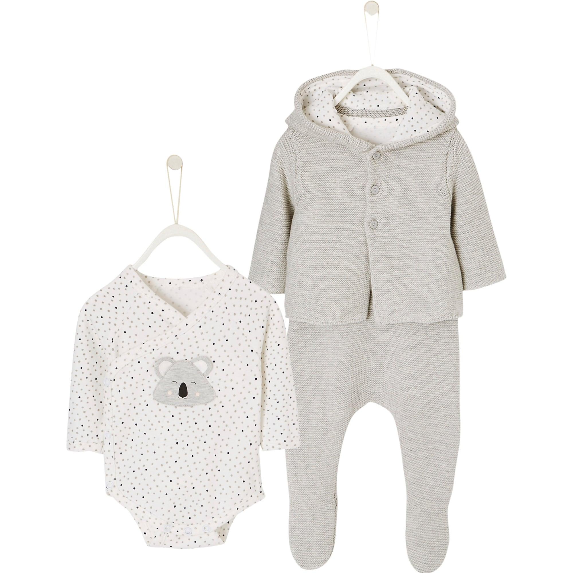 Babyjacken - Newborn Set aus Strickjacke, Strickhose und Wickelbody - Onlineshop ABOUT YOU