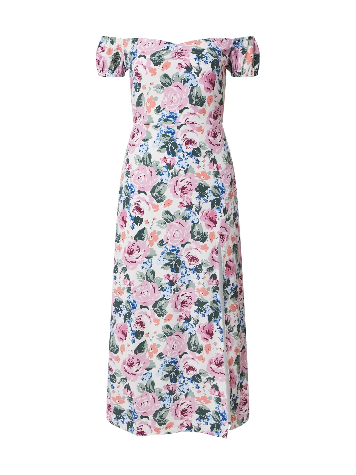Fashion Union Vasarinė suknelė 'ELZA' rožių spalva / turkio spalva / balta
