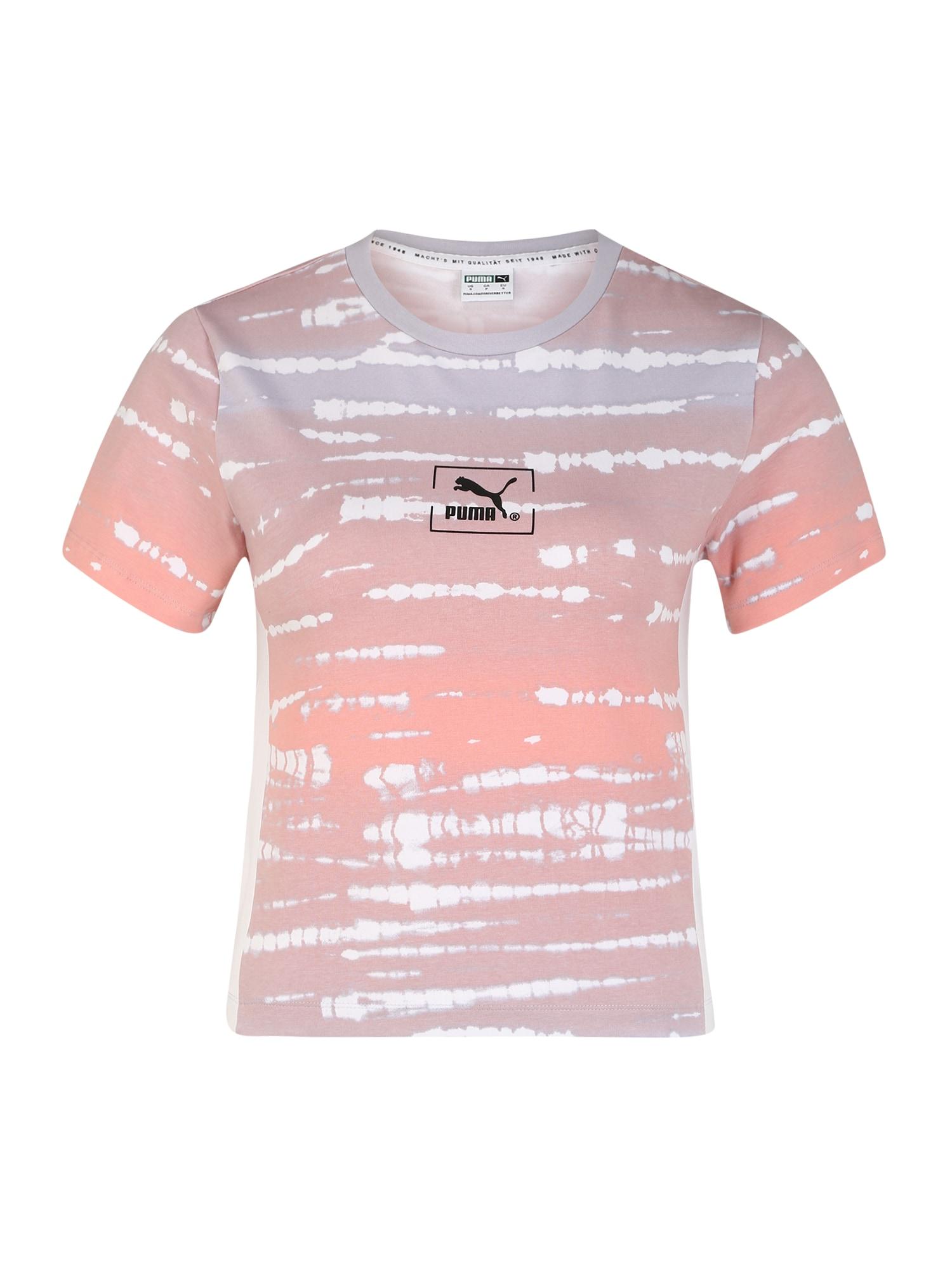 PUMA Sportiniai marškinėliai 'TIE DYE AOP Tee Wmns' oranžinė / alyvinė spalva