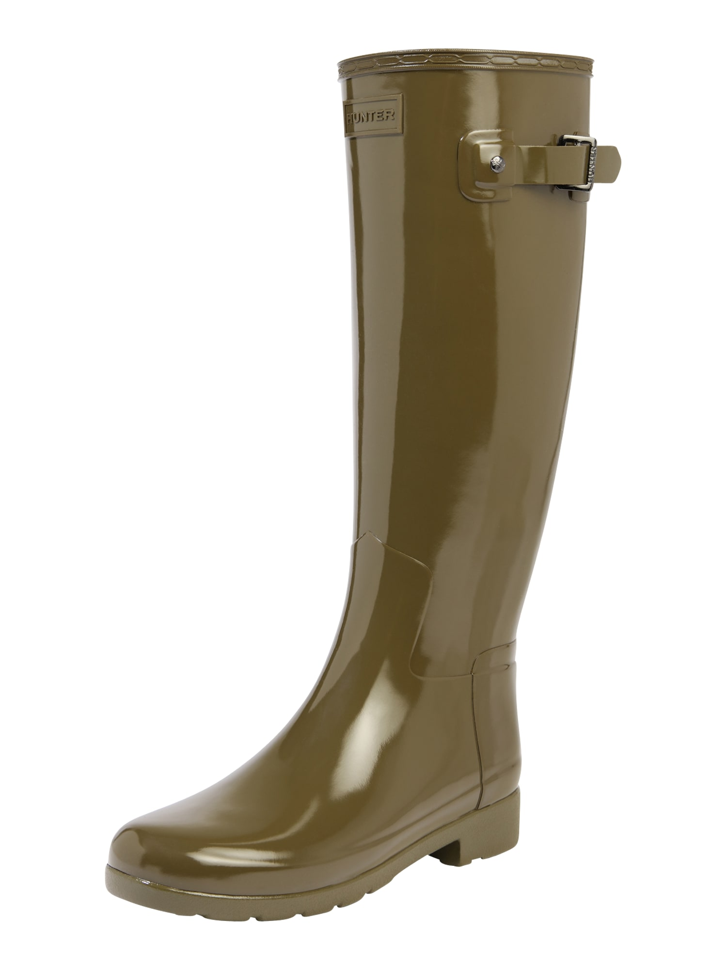 HUNTER Guminiai batai 'ORIGINAL REFINED GLOSS' tamsiai žalia / purvo spalva