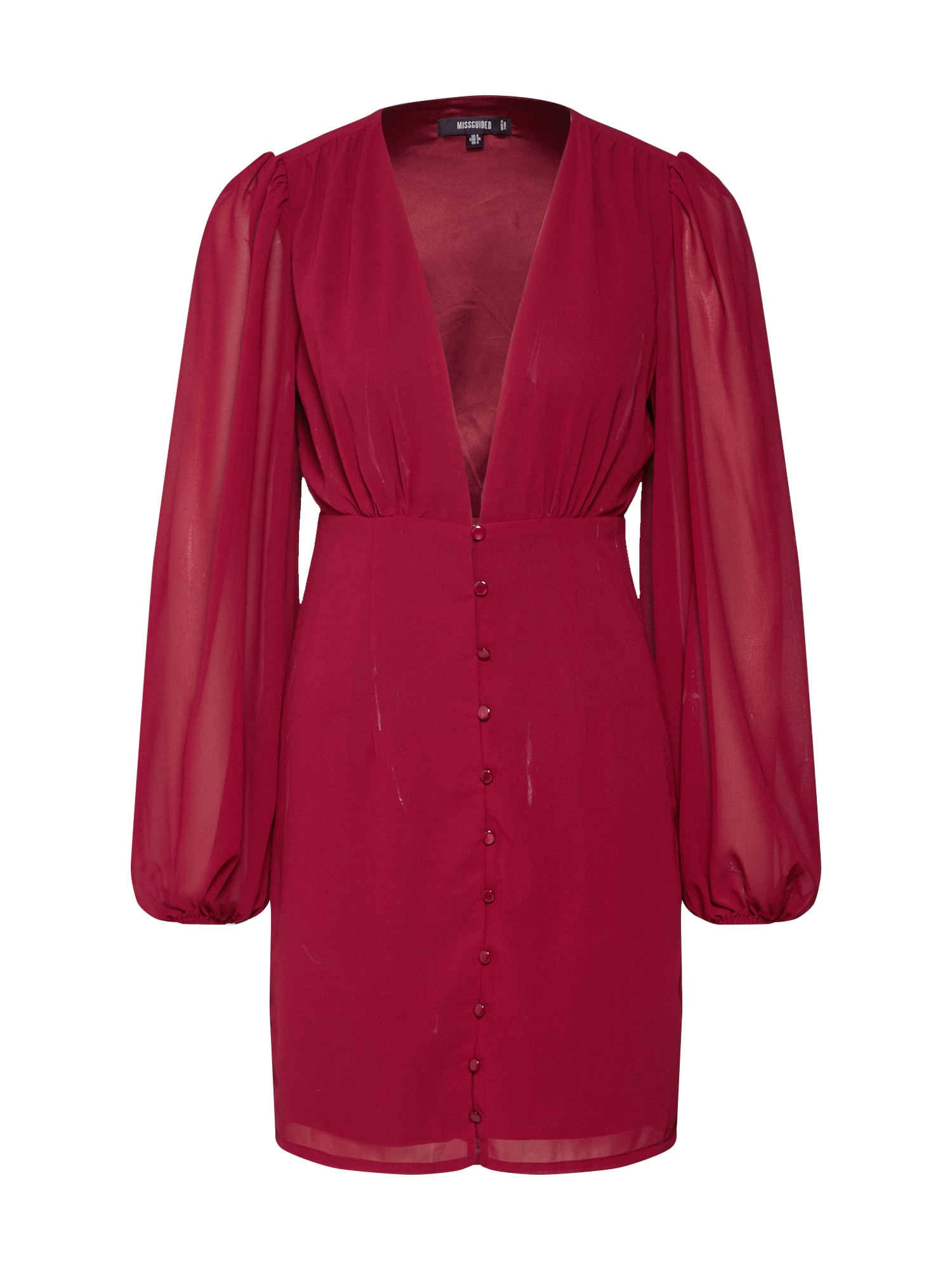 Missguided Rochie de seară 'MILKMAID BUTTON DOWN DRESS CHIFFON'  burgund