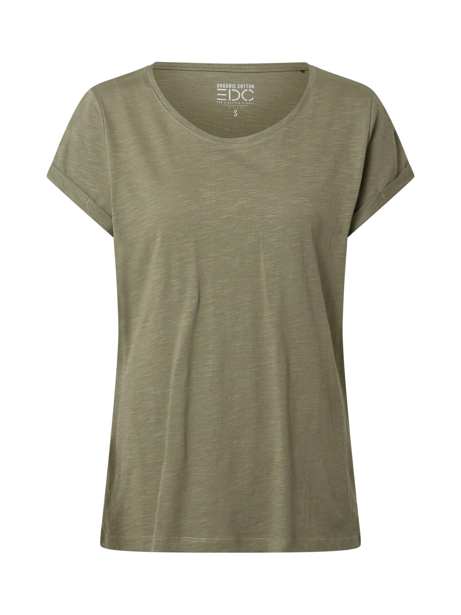 EDC BY ESPRIT Marškinėliai alyvuogių spalva