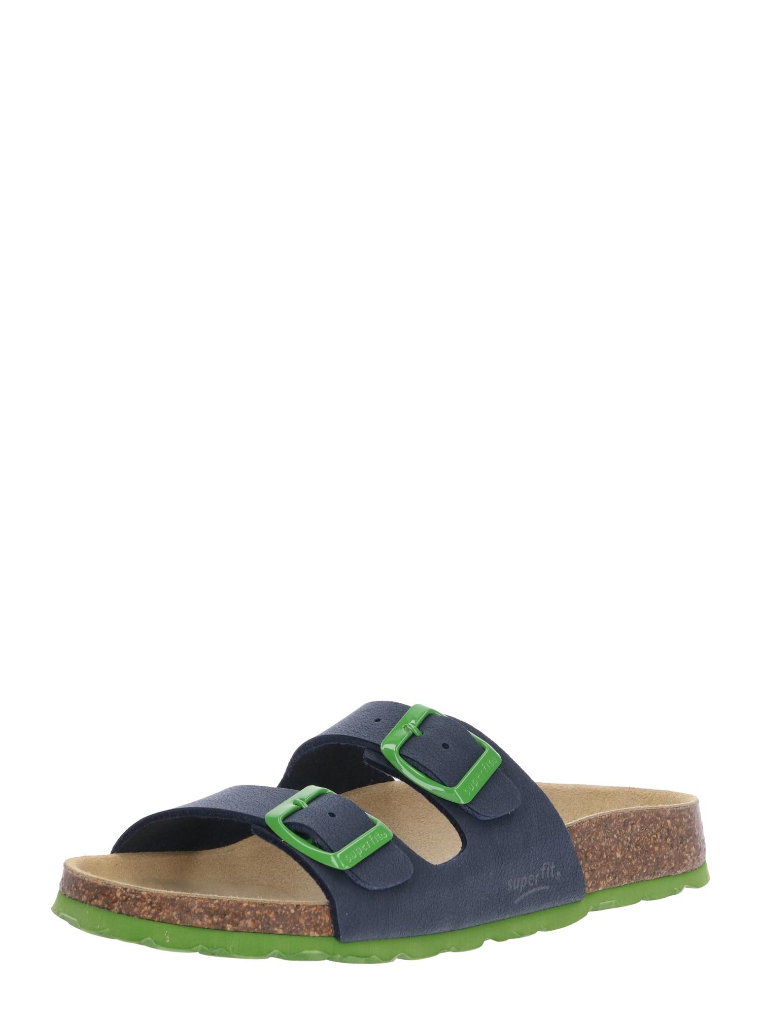 SUPERFIT Atviri batai žaliosios citrinos spalva / tamsiai mėlyna