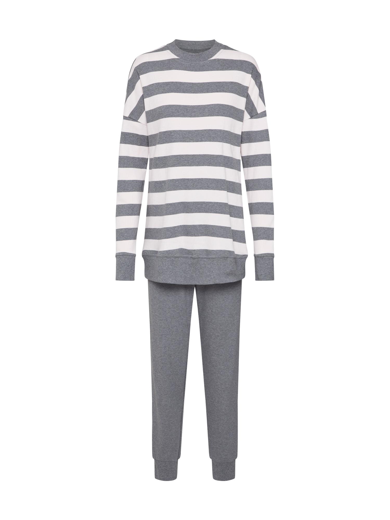 SCHIESSER Pižama tamsiai pilka / balta