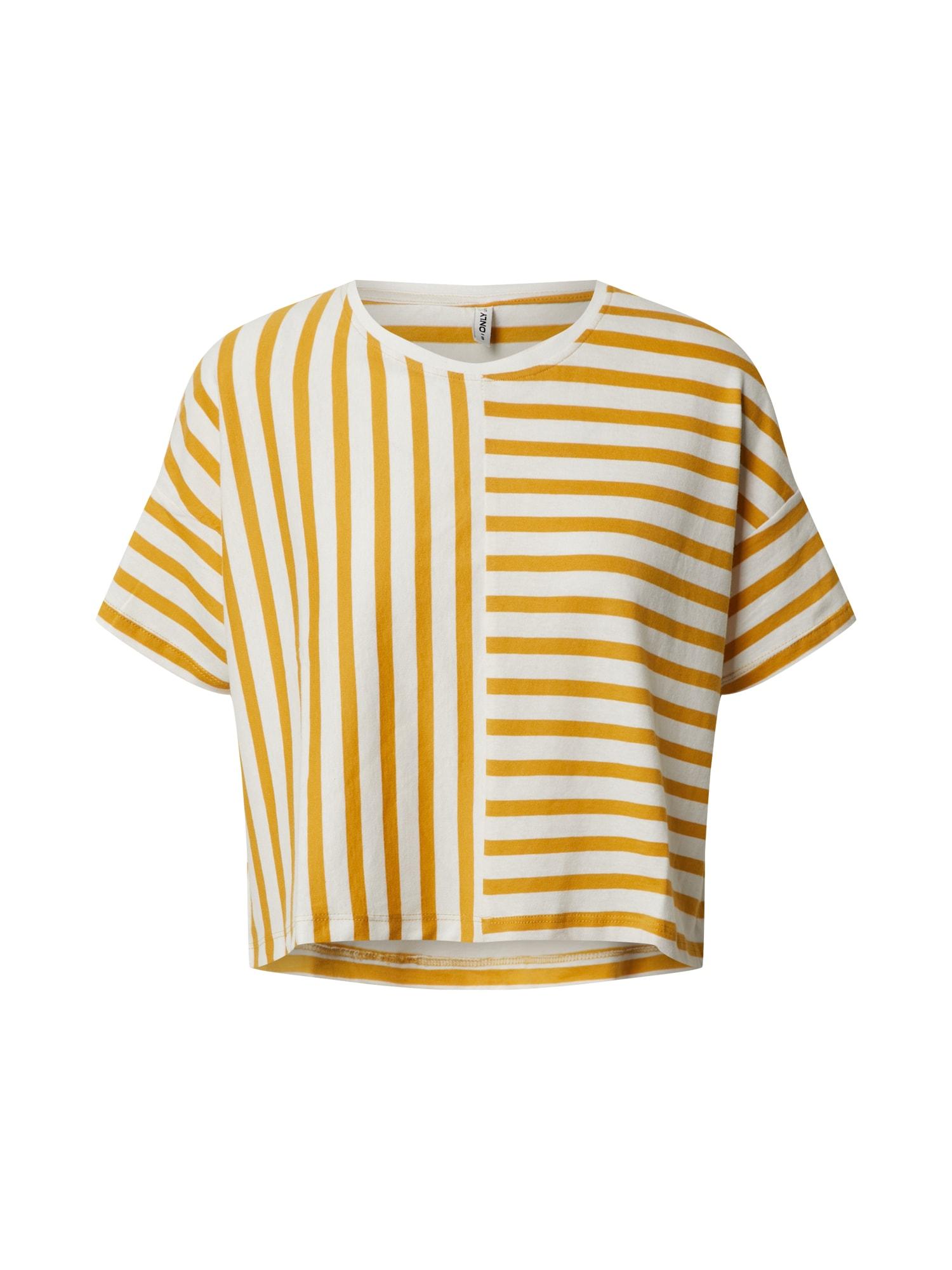 ONLY Tričko 'Marie'  žlté / šedobiela
