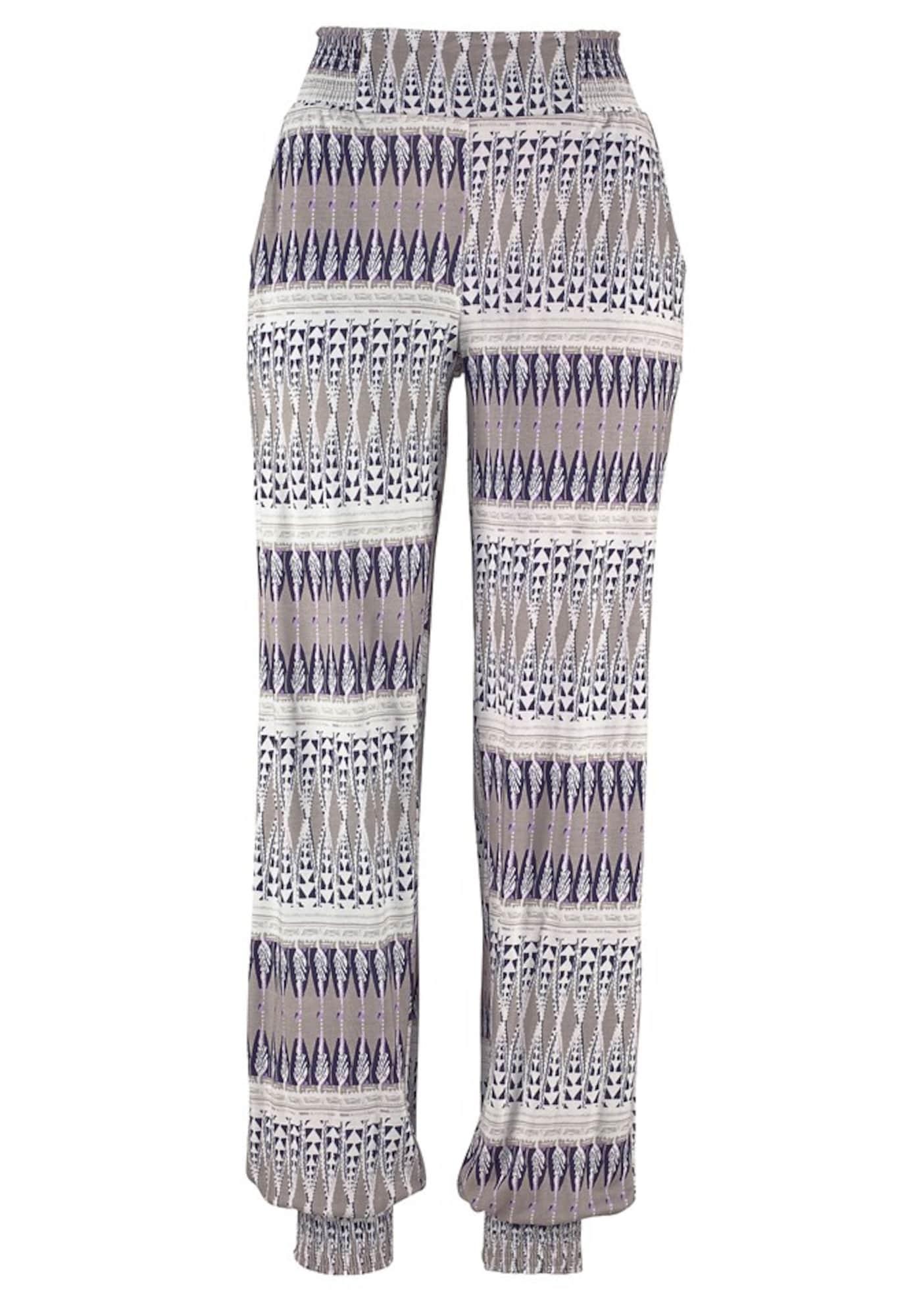 Harémové kalhoty krémová písková fialová LASCANA