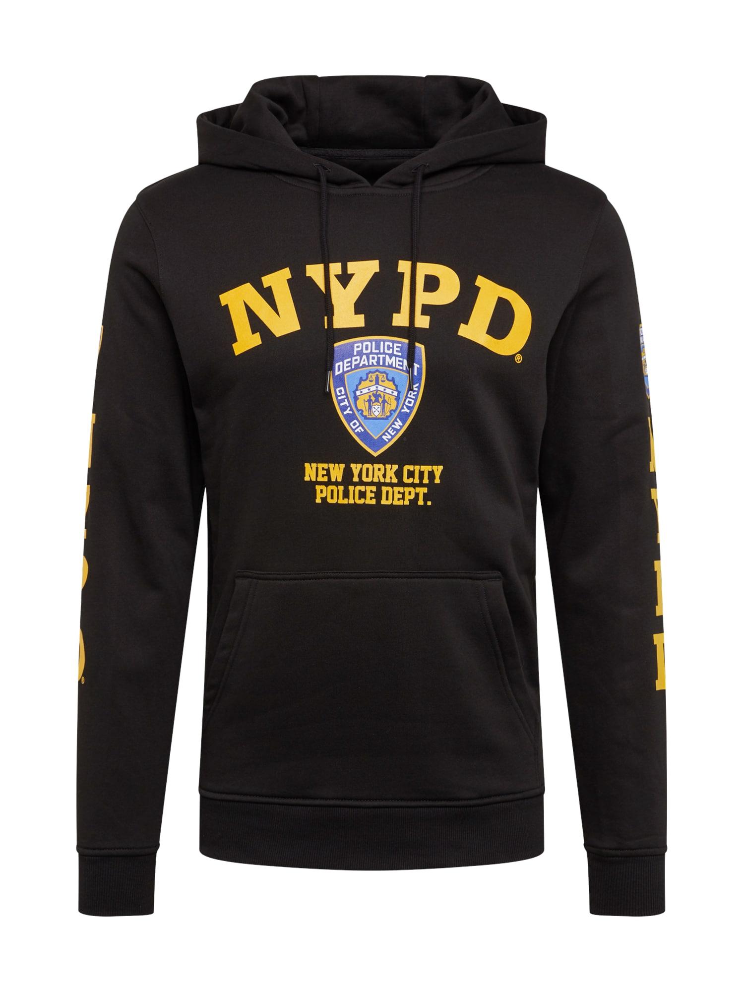 Mister Tee Bluză de molton 'NYPD'  negru / albastru deschis / galben