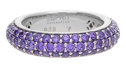 Ringe für Frauen - ESPRIT Fingerring Amorbess Passion mit Zirkonia Steinbesatz ELRG91400C dunkellila silber  - Onlineshop ABOUT YOU