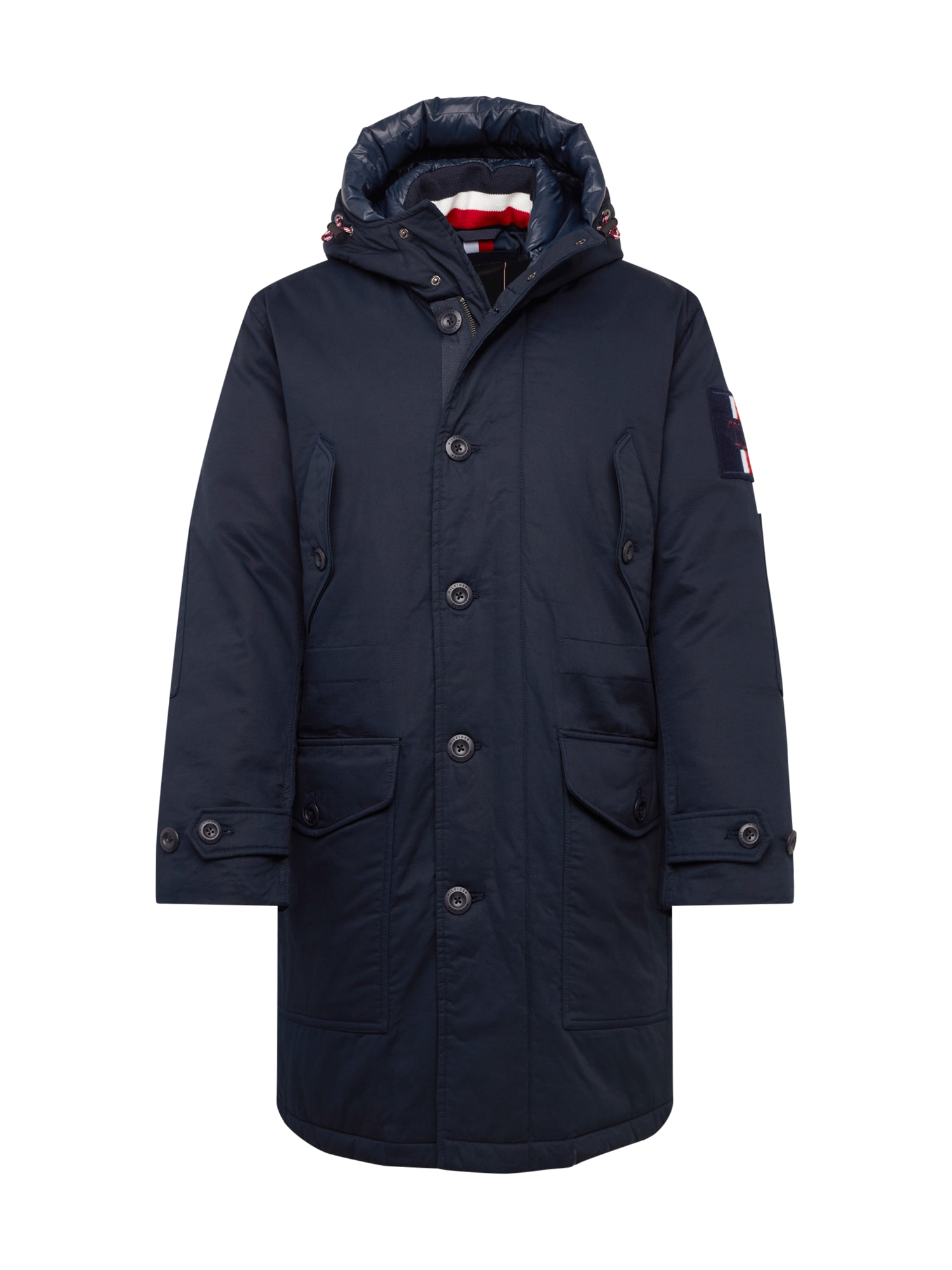 TOMMY HILFIGER Zimná parka 'TH MONOGRAM COTTON HOODED PARKA'  tmavomodrá