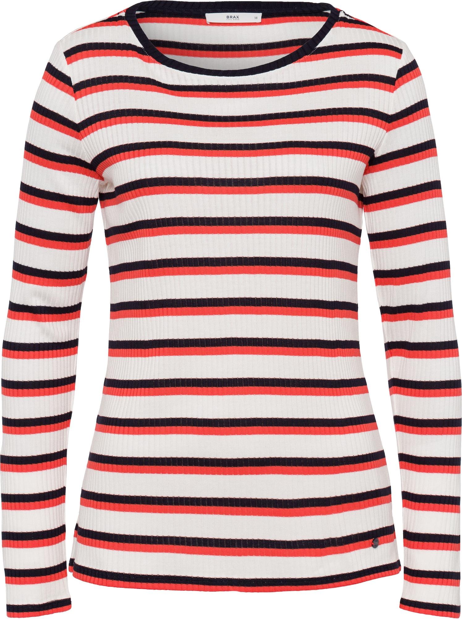 BRAX Marškinėliai 'Carina' balta / raudona / juoda