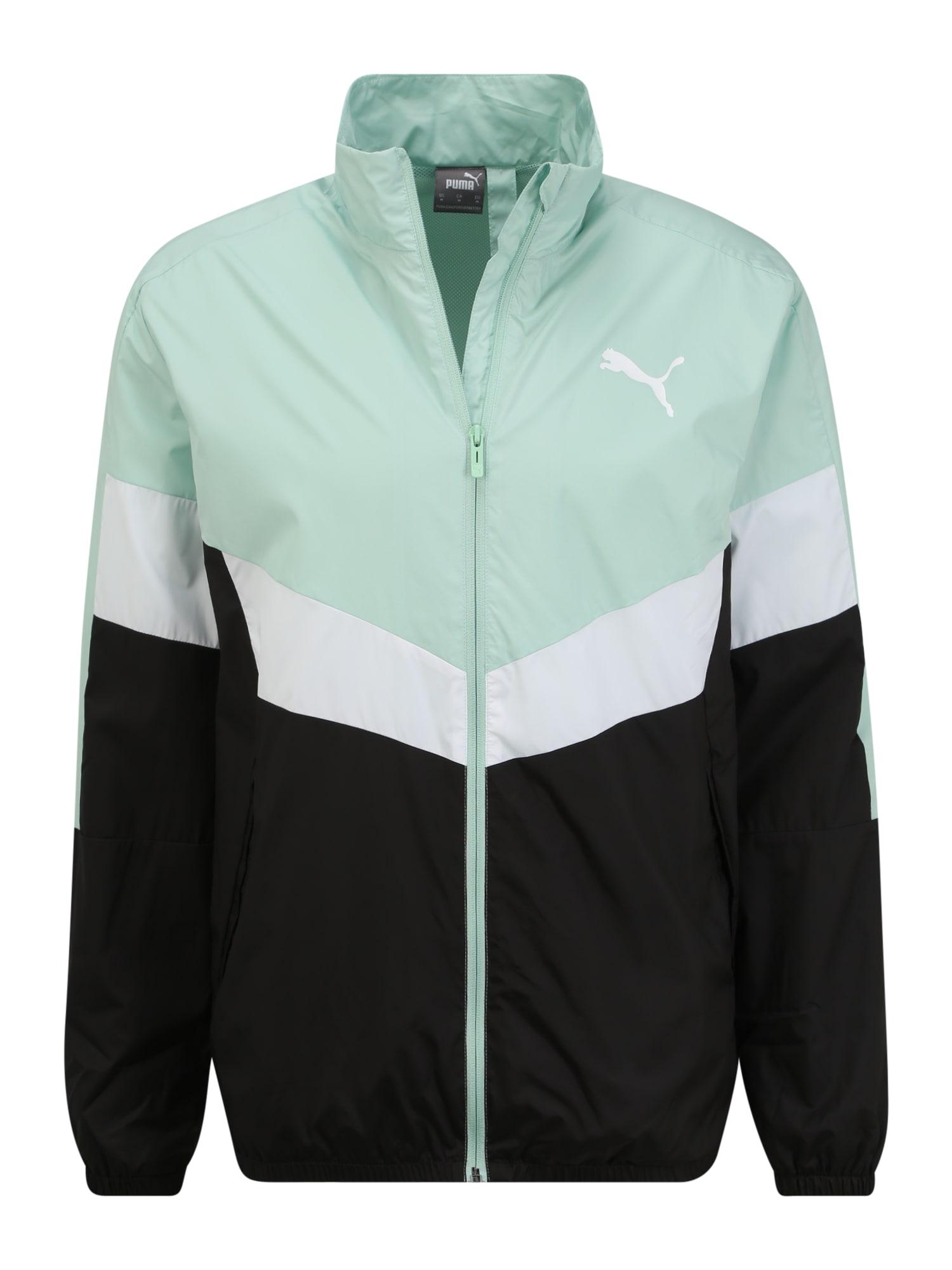 PUMA Džemperis treniruotėms mėtų spalva / juoda / balta