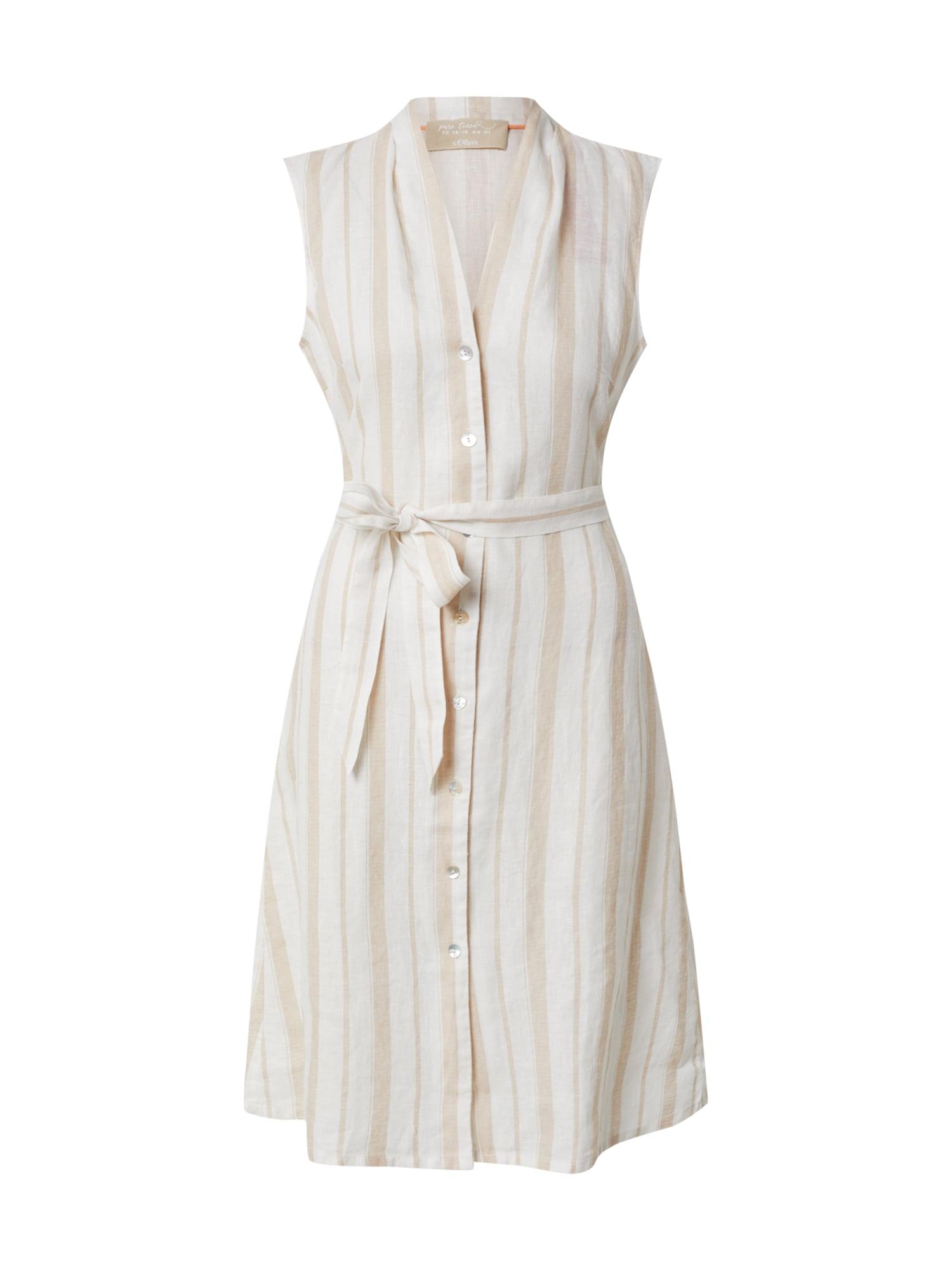 s.Oliver Košeľové šaty  béžová / biela