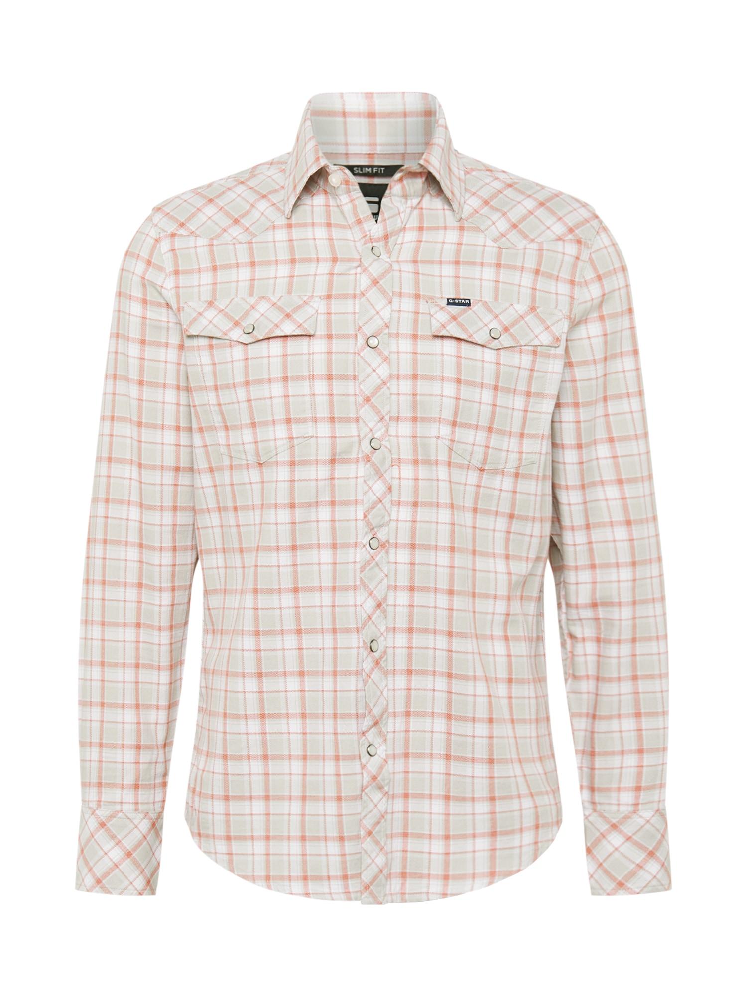 G-Star RAW Marškiniai balta / šviesiai pilka / lašišų spalva