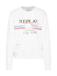 REPLAY Damen Sweatshirt im Destroyed-Look weiß   08054381701843
