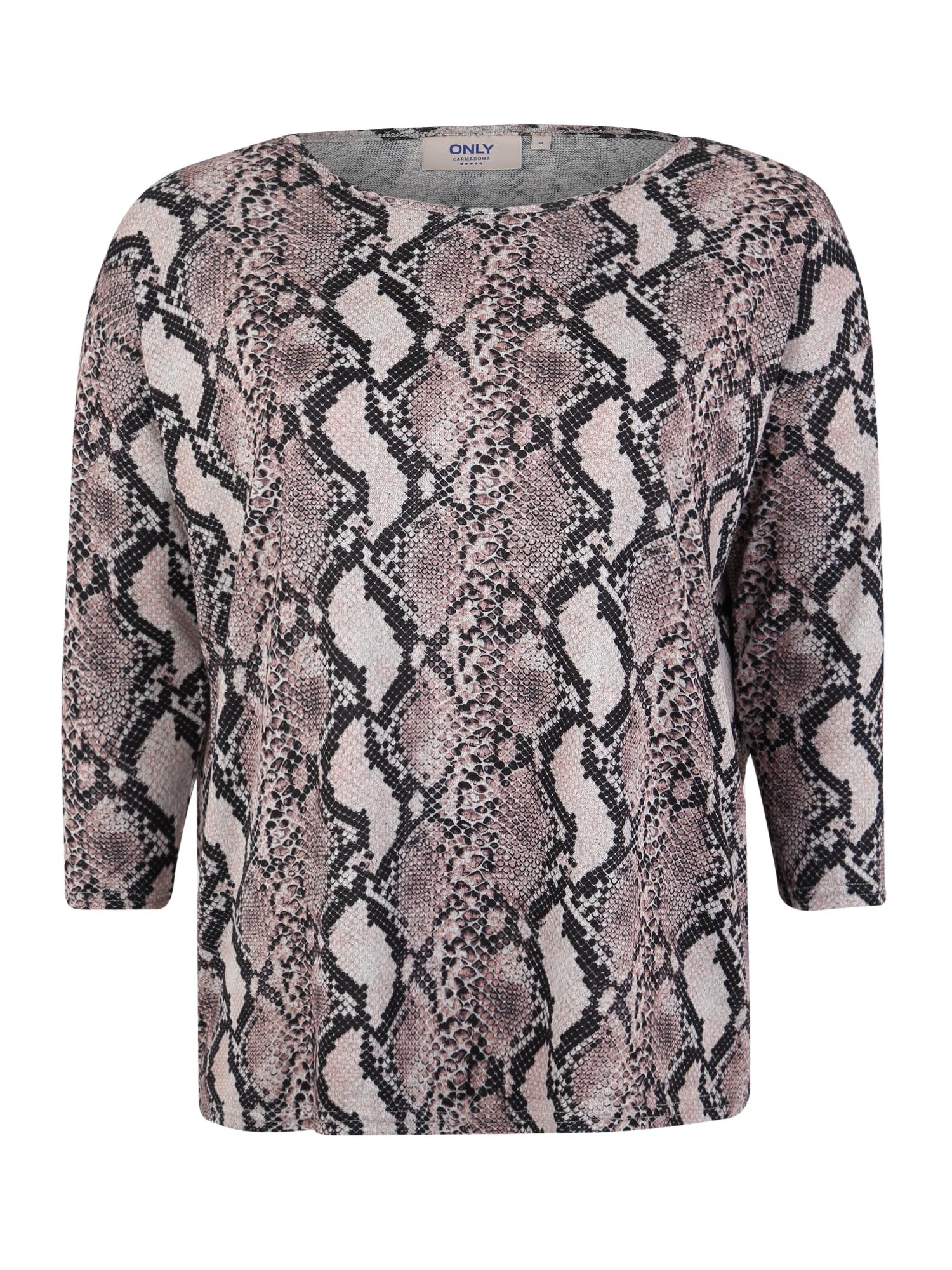 ONLY Carmakoma Marškinėliai 'CARALBA ' pilka / rožių spalva / juoda