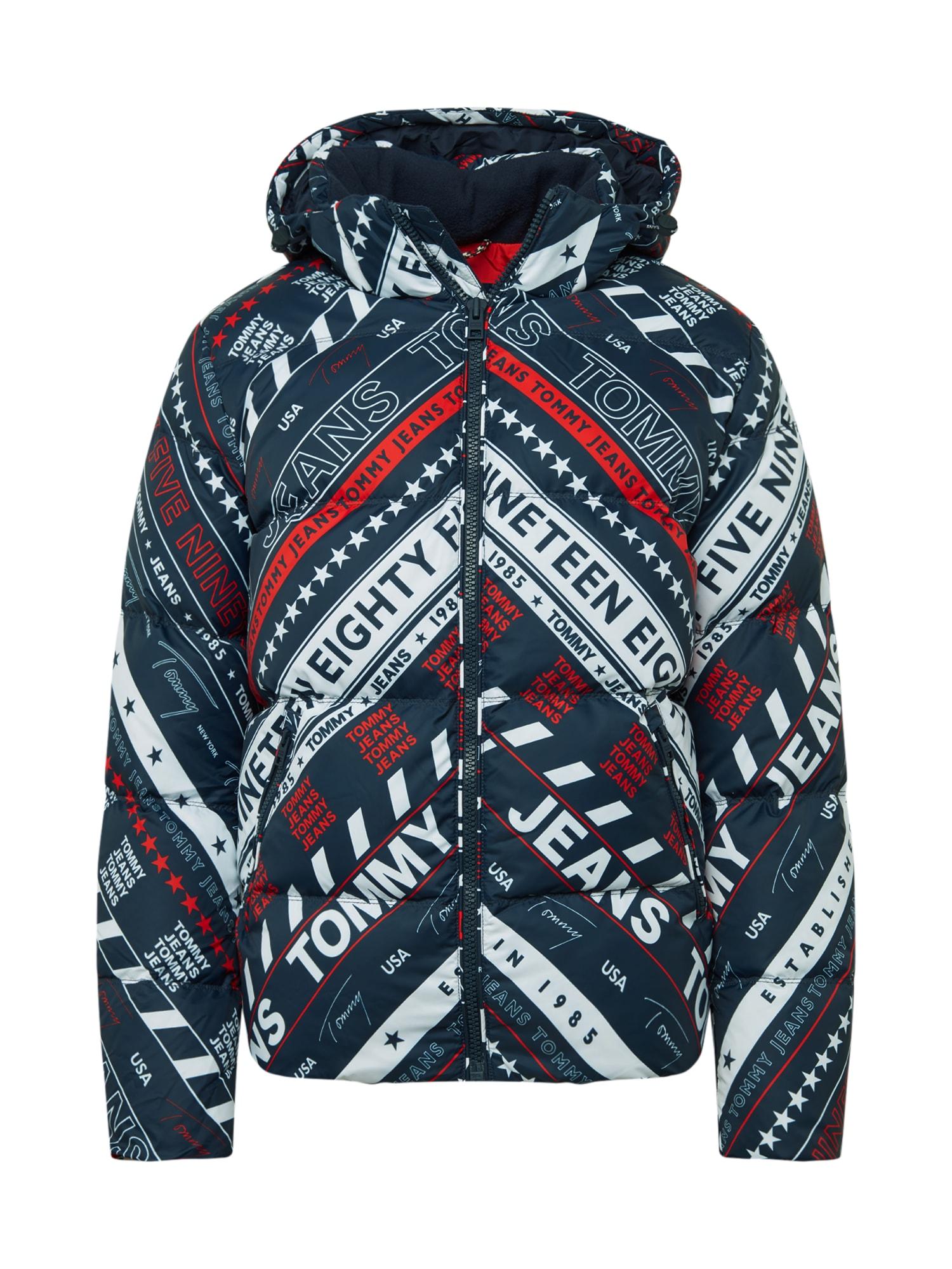 Tommy Jeans Žieminė striukė tamsiai mėlyna / balta / raudona