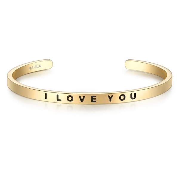 Armbaender für Frauen - Nahla Jewels Armband Bangle mit I LOVE YOU Gravur gold  - Onlineshop ABOUT YOU