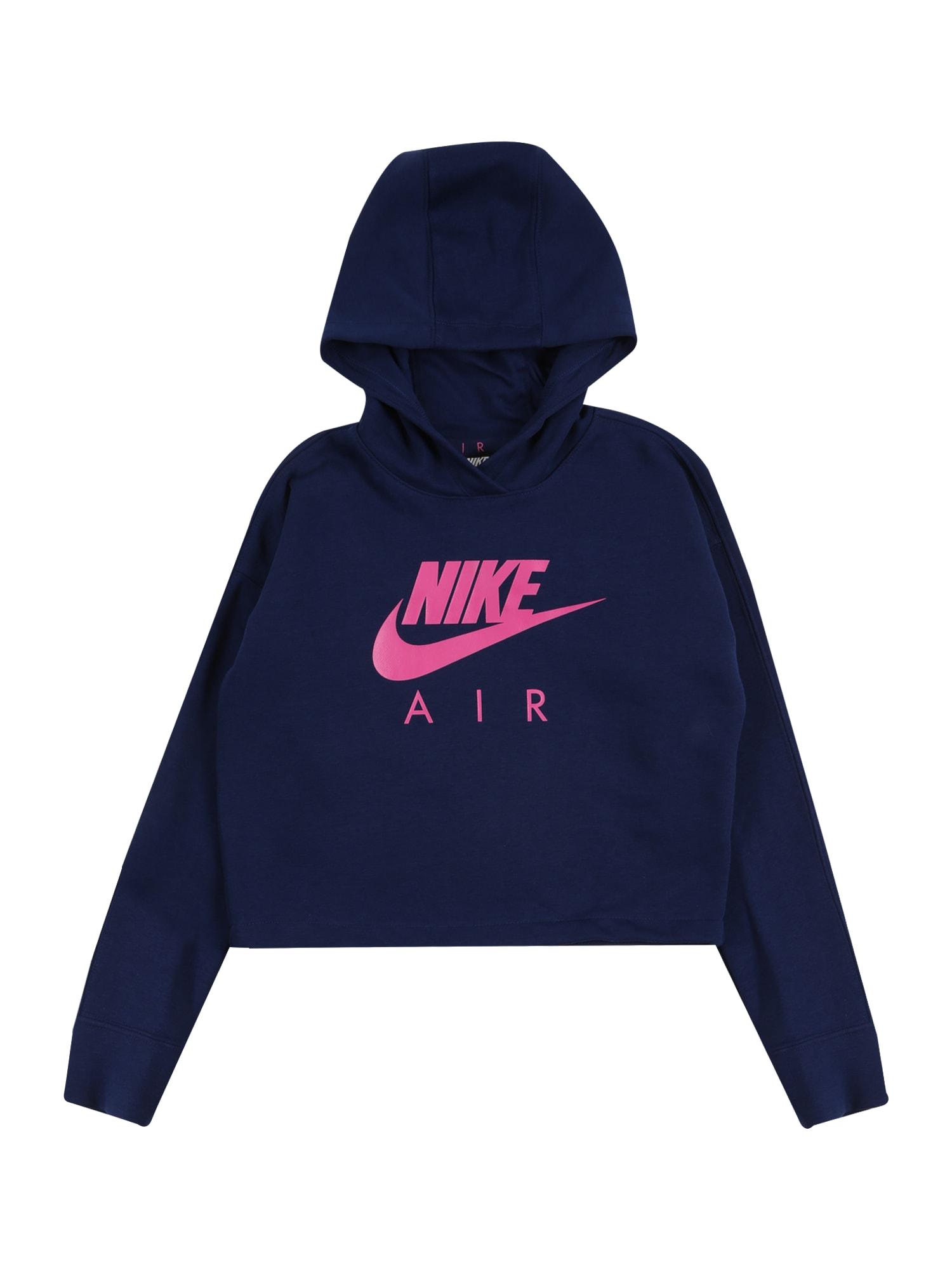 Nike Sportswear Megztinis be užsegimo 'AIR CROP' rožinė / tamsiai mėlyna