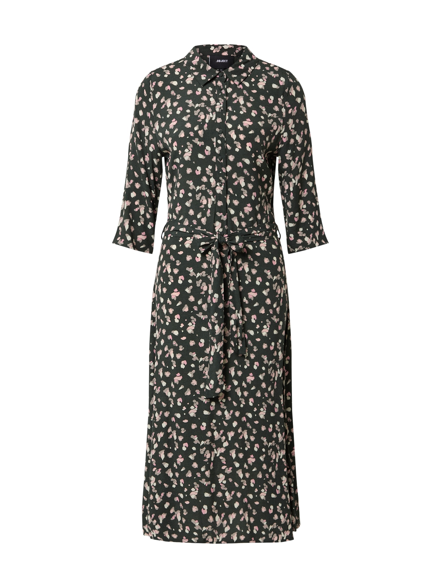 OBJECT Košeľové šaty 'OBJNELLE 3/4 LONG SHIRT DRESS PB8'  tmavozelená