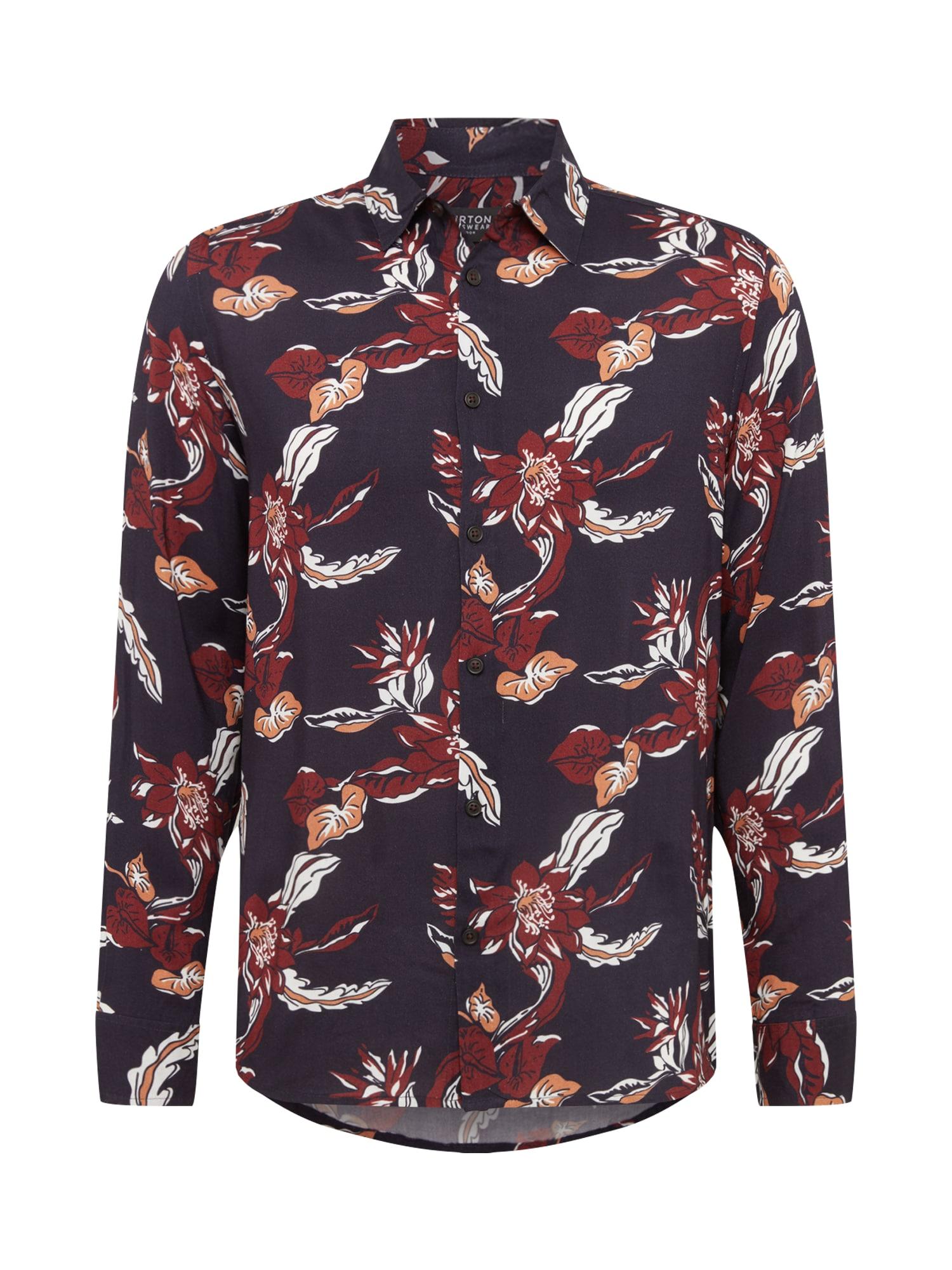 BURTON MENSWEAR LONDON Dalykiniai marškiniai 'LS NVY BURG FLORAL' tamsiai mėlyna