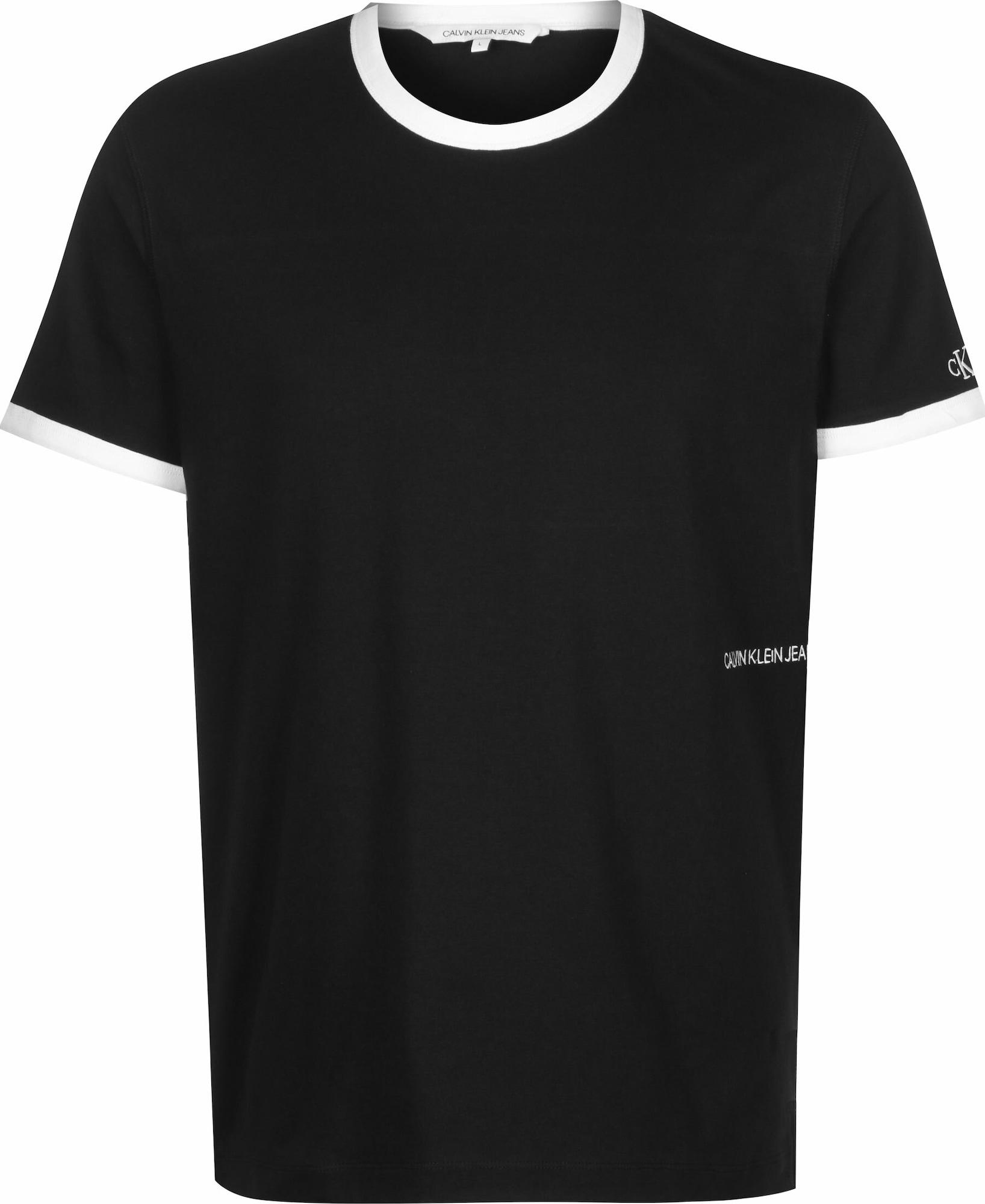 Calvin Klein Jeans Tričko  černá / bílá