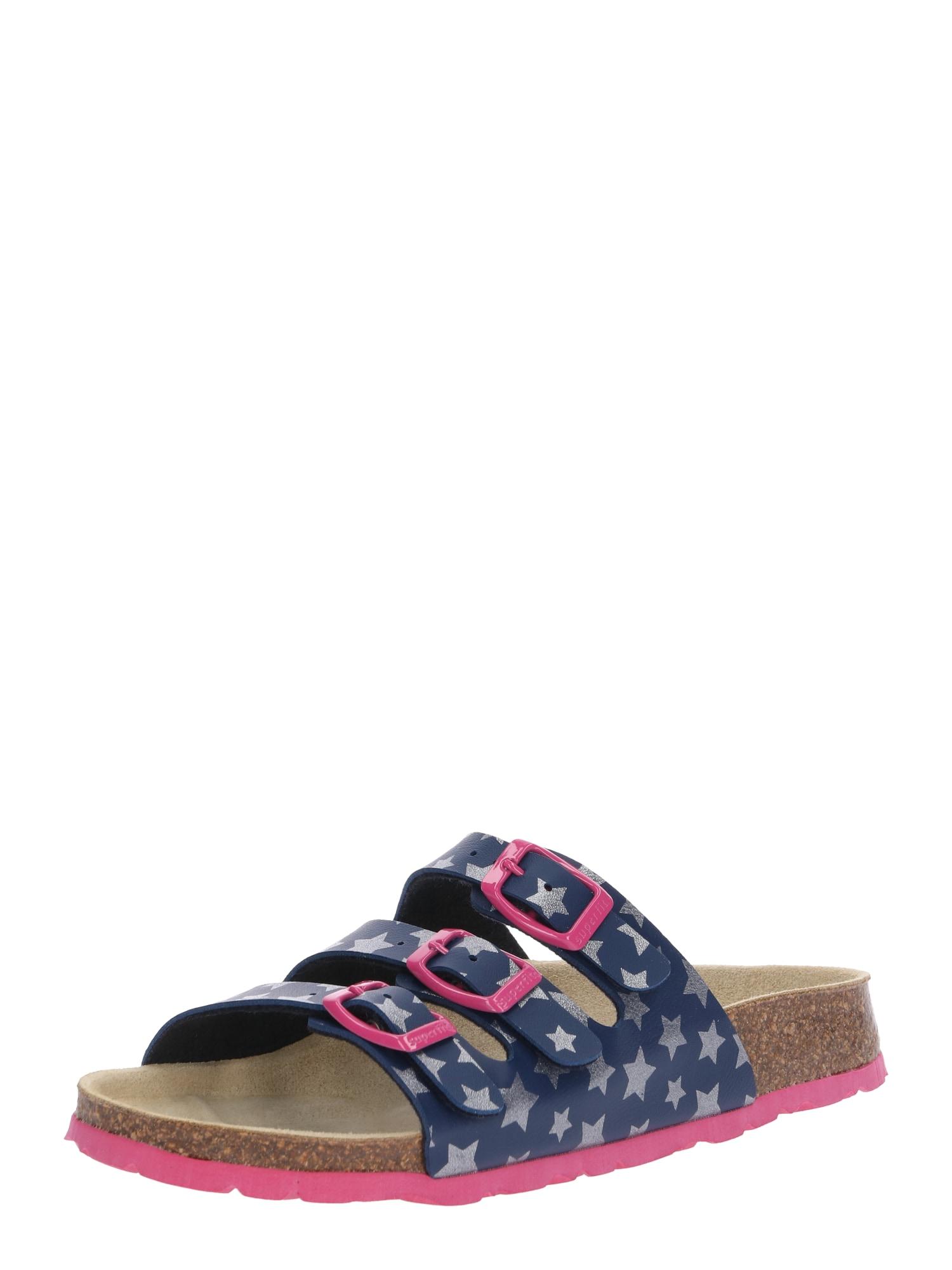 SUPERFIT Sandalai tamsiai mėlyna / rožinė / sidabrinė