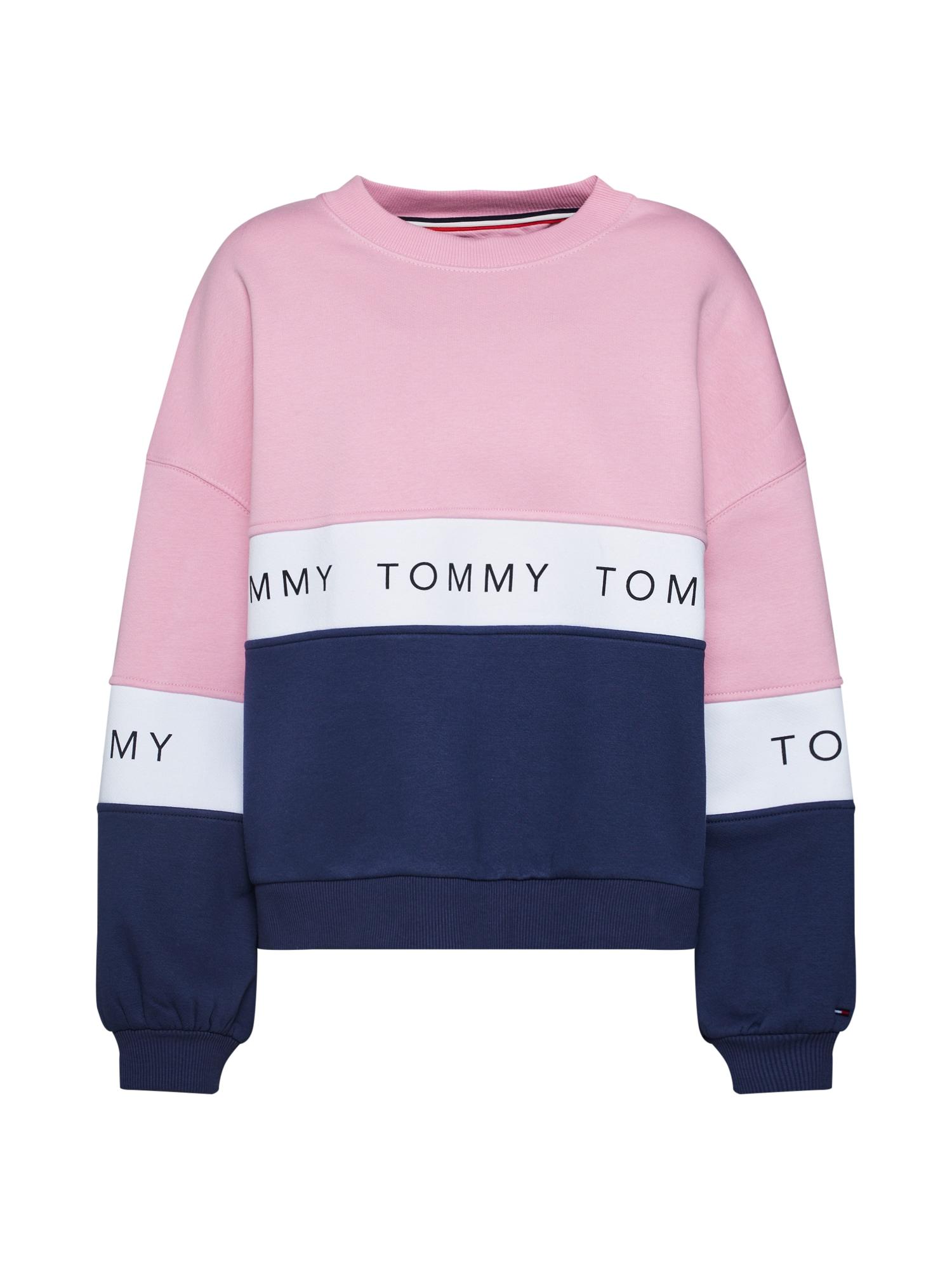 Tommy Jeans Mikina  noční modrá / růžová