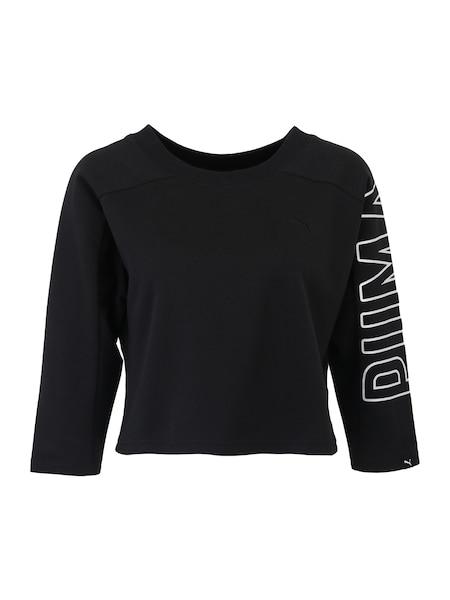 Sportmode für Frauen - PUMA Sport Sweatshirt 'FUSION Cropped' schwarz weiß  - Onlineshop ABOUT YOU