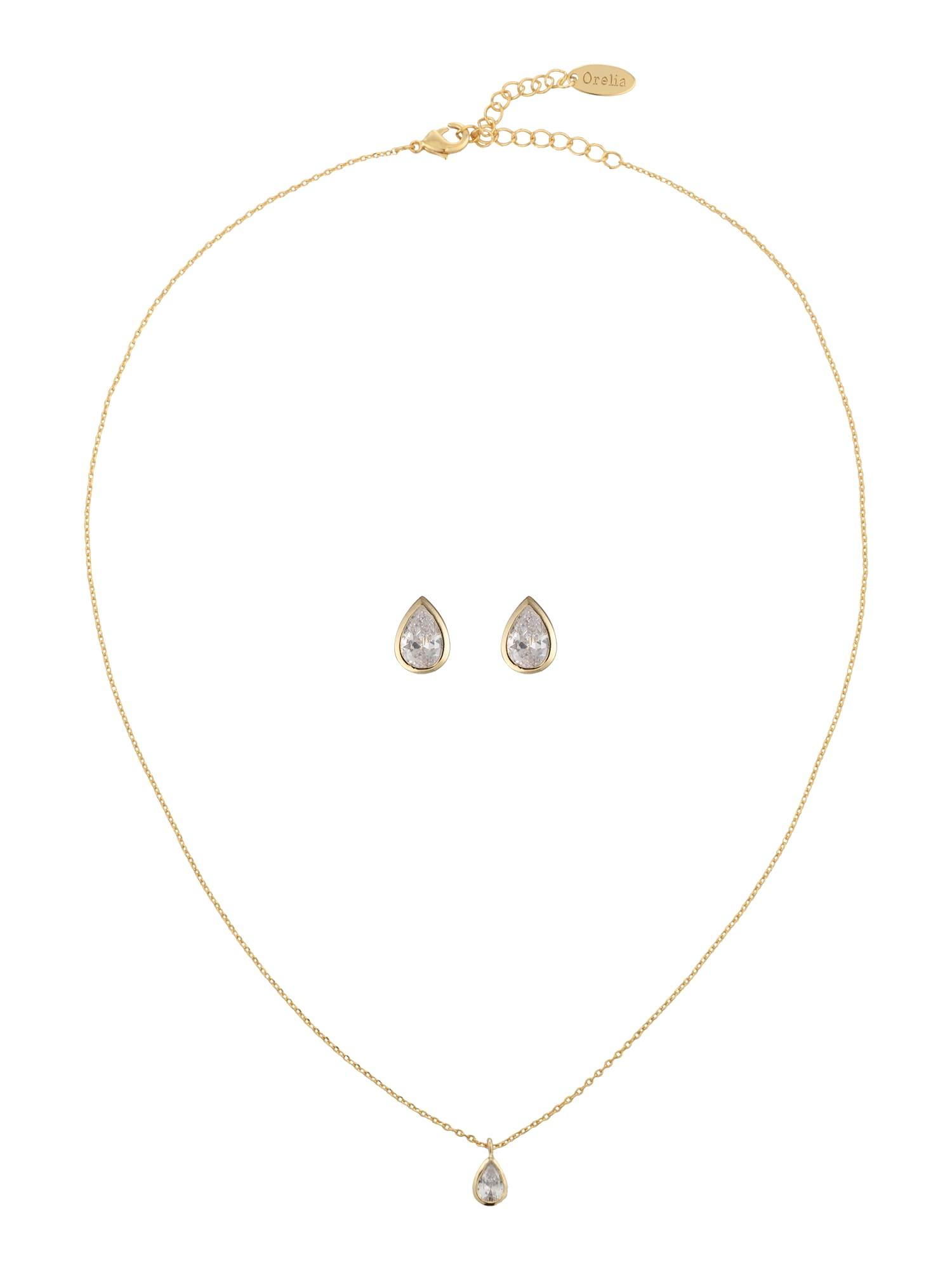 Schmucksets für Frauen - Orelia Schmuck Set 'Crystal Teardrop Giftbox Set' gold  - Onlineshop ABOUT YOU