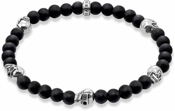 Armbaender für Frauen - Thomas Sabo Armband 'Totenkopf, A1097 023 11' schwarz silber  - Onlineshop ABOUT YOU