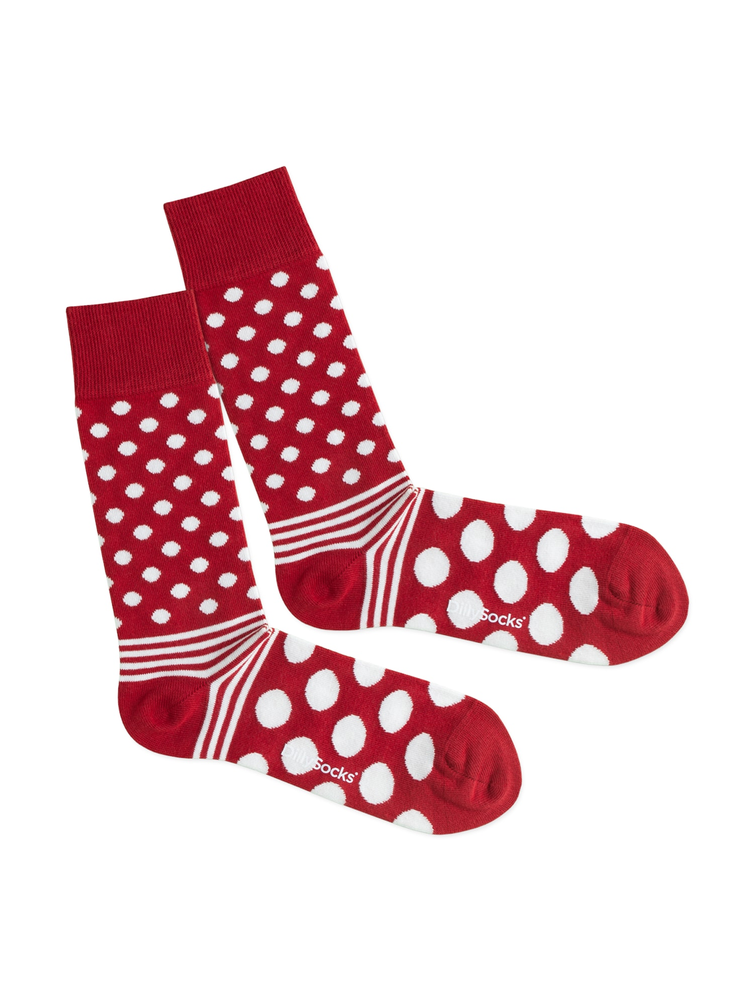 DillySocks Kojinės 'Dot Stripe Fire' raudona / balta