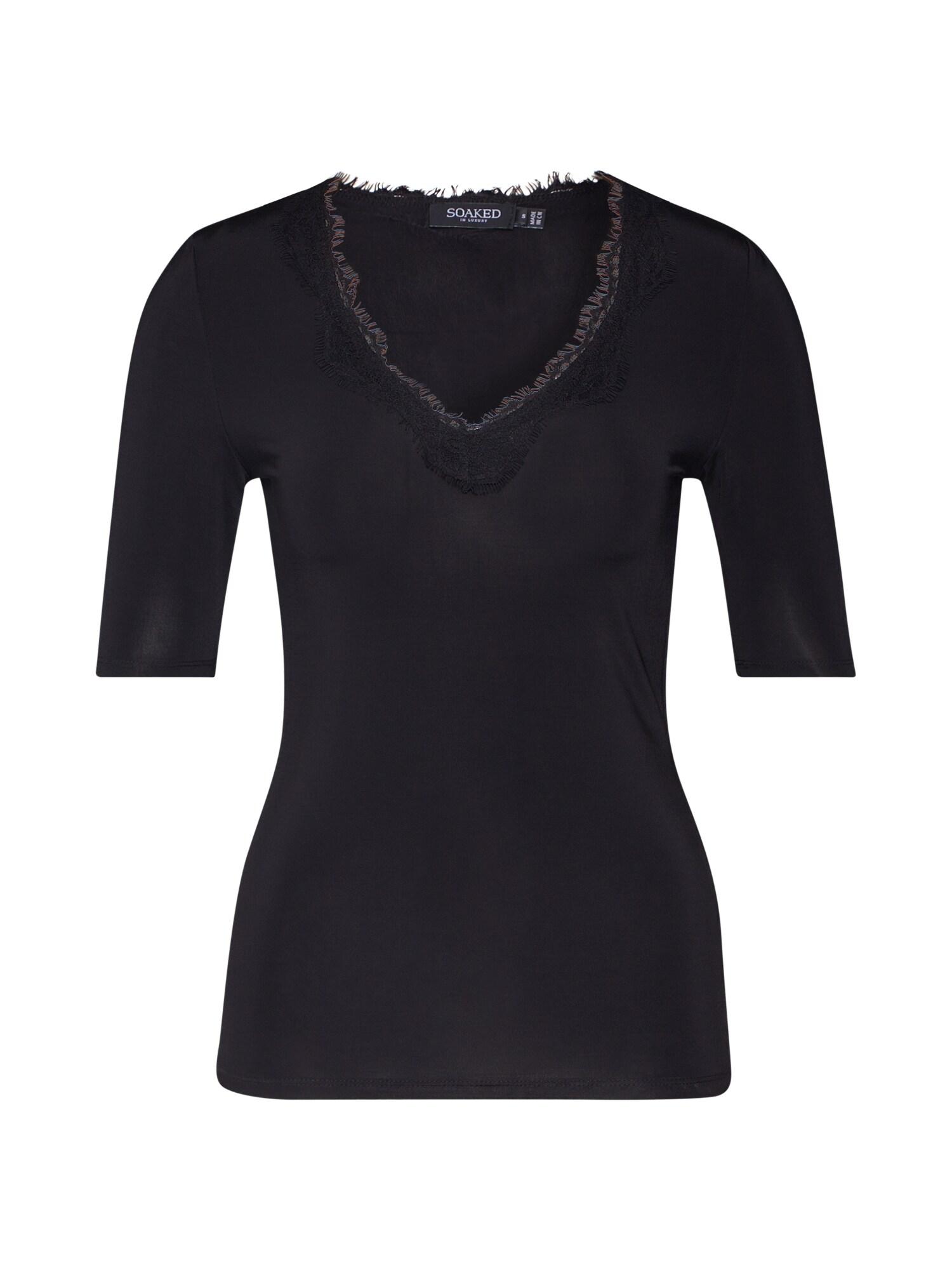 SOAKED IN LUXURY Tričko 'Clara'  černá