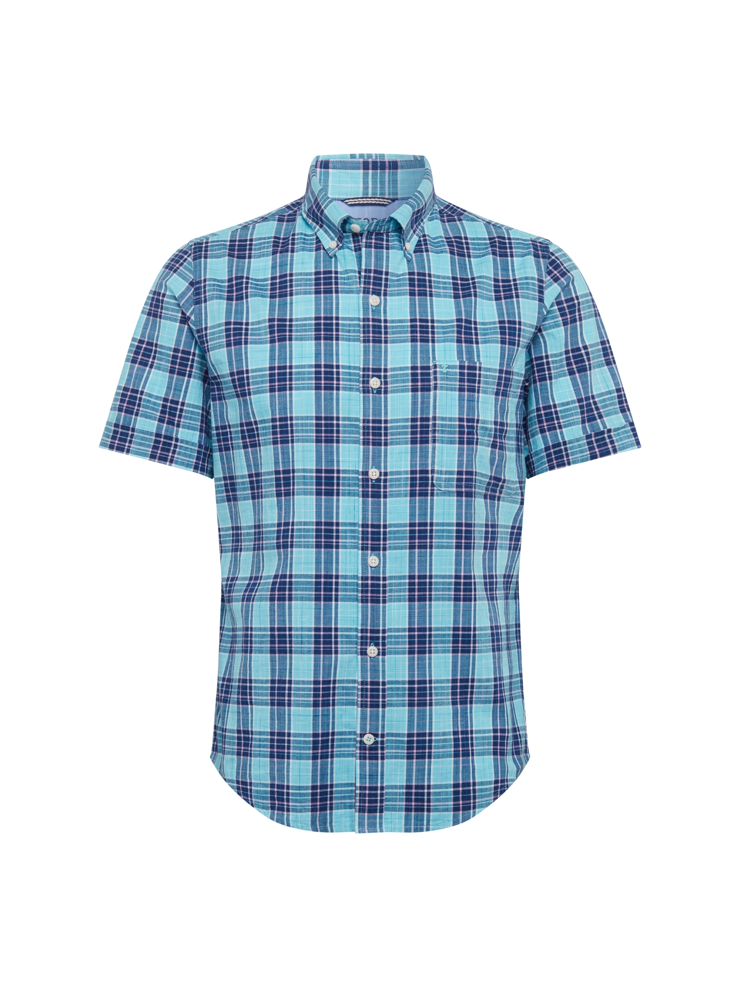 Košile DOCKSIDE CHAMBRAY PLAID SS SHIRT modrá IZOD