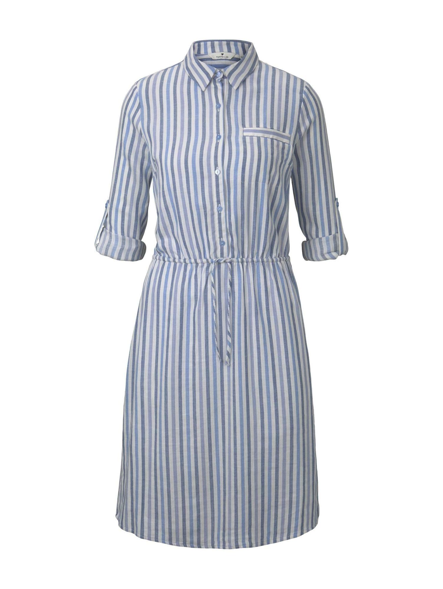 TOM TAILOR Vasarinė suknelė melsvai pilka / šviesiai mėlyna / balta