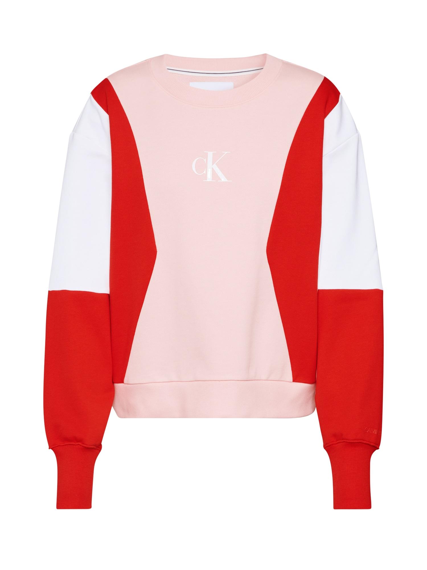 Calvin Klein Jeans Megztinis be užsegimo rožių spalva / balta / raudona
