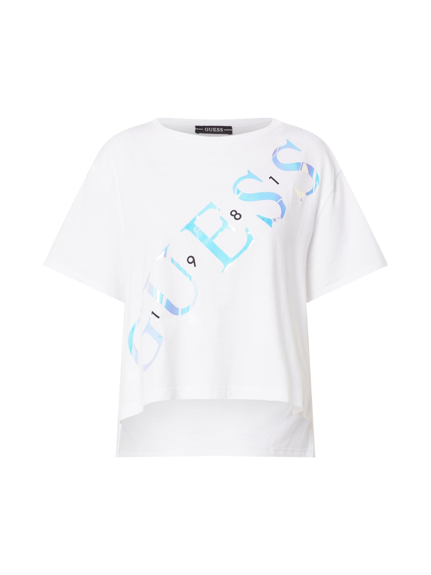 GUESS Marškinėliai balta / neoninė mėlyna / juoda