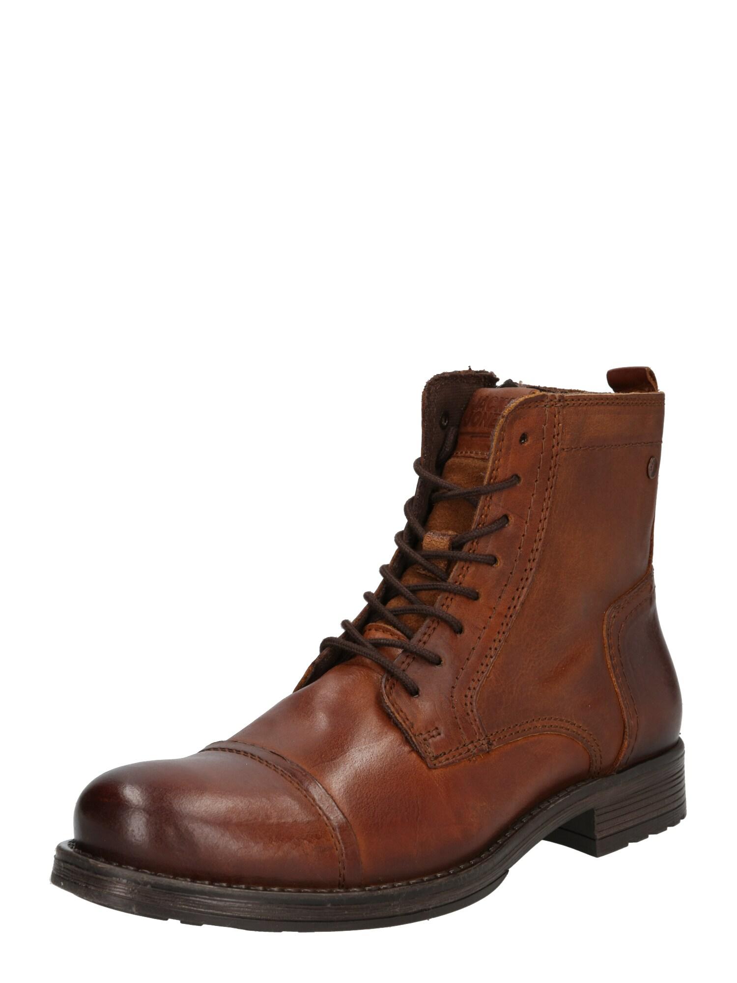 JACK & JONES Auliniai batai su raišteliais ruda (konjako)