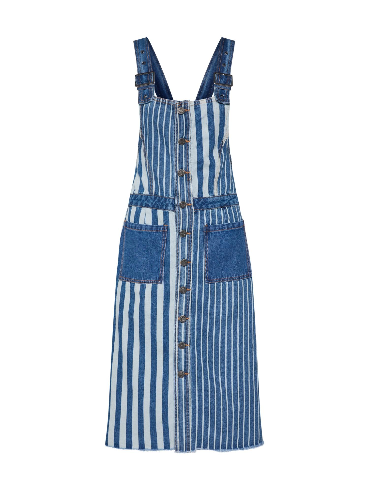 Laclová sukně NMJENNY DUNGAREE STRIBE DRESS modrá džínovina Noisy May